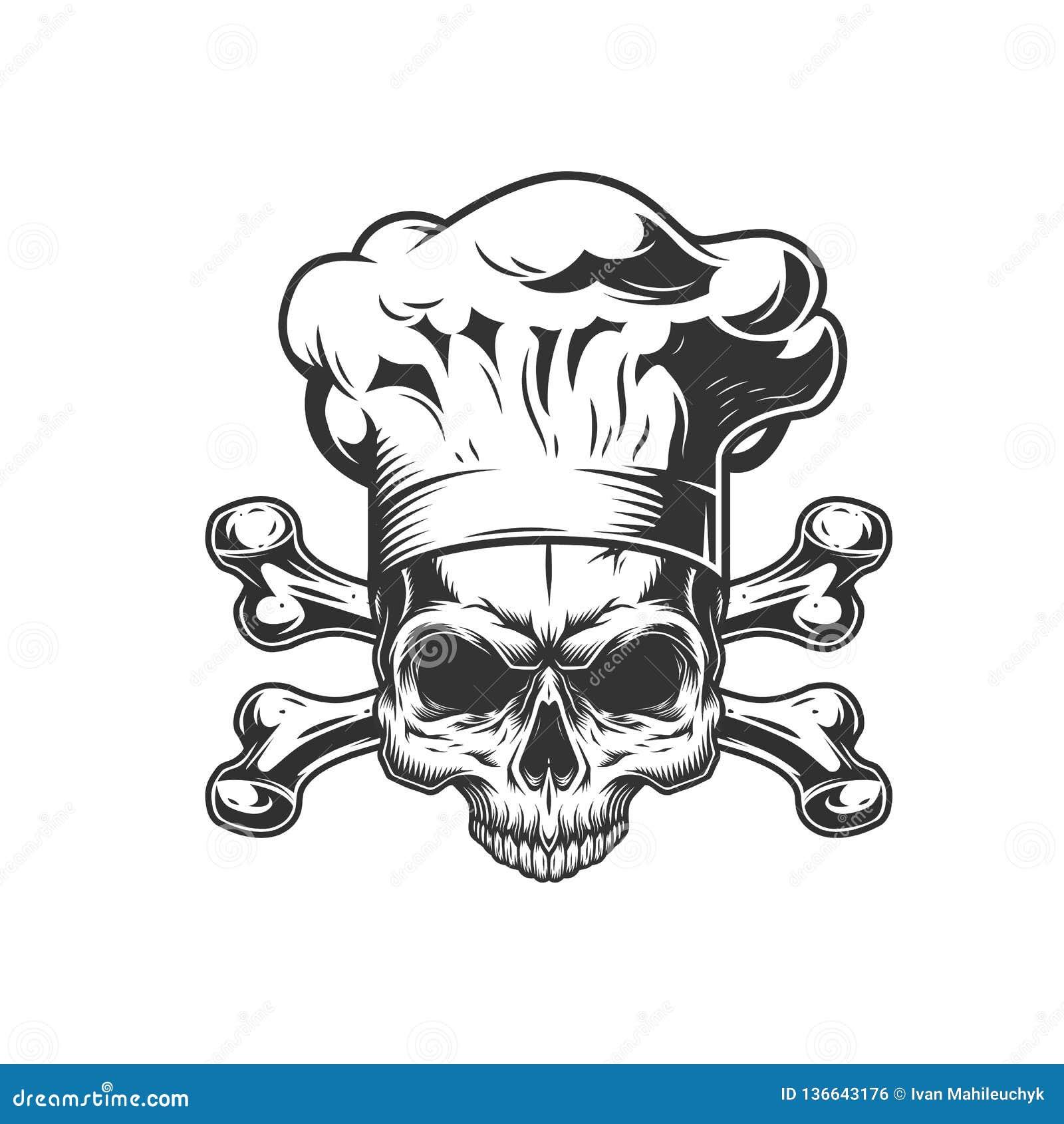 Cráneo monocromático del cocinero del vintage