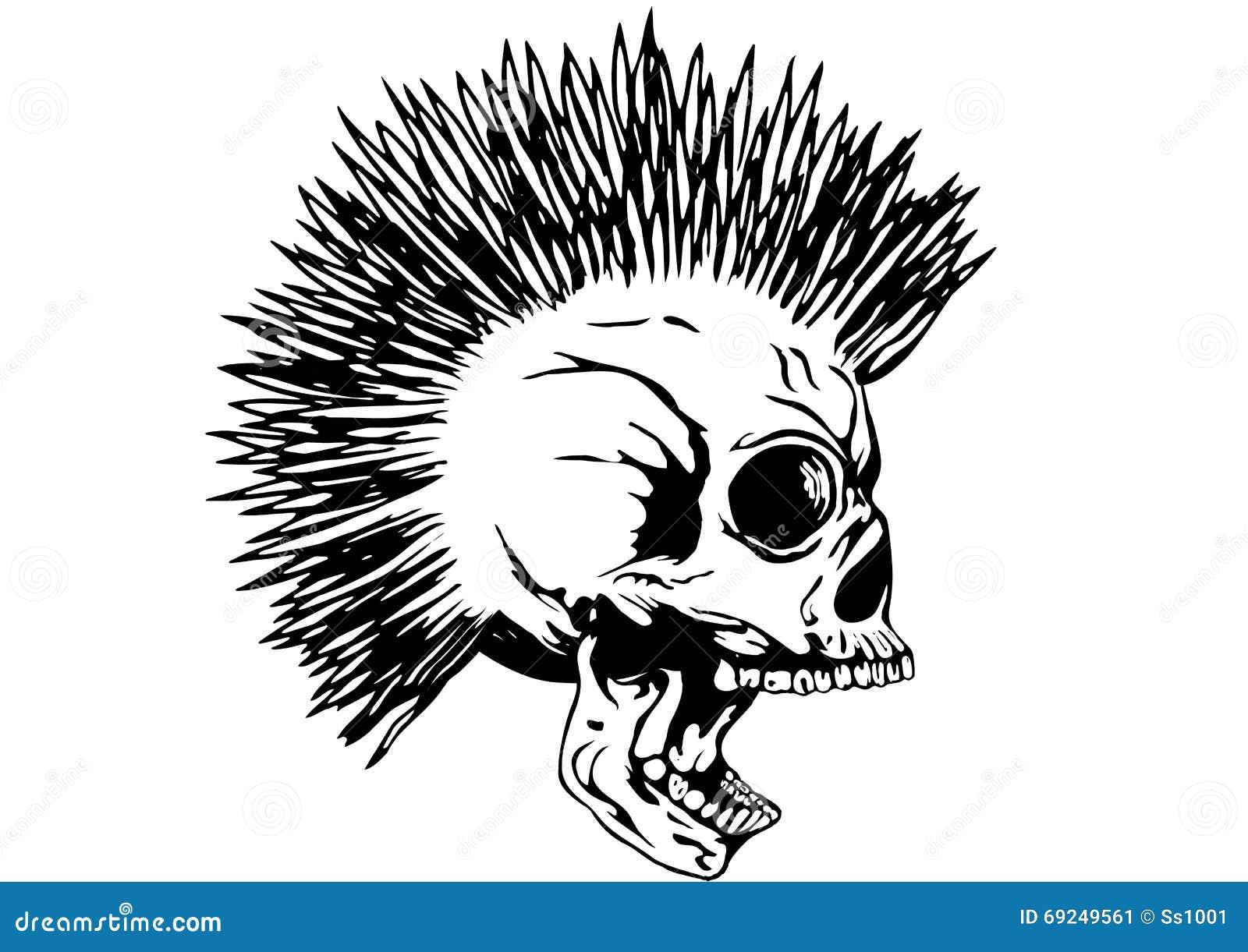 Cráneo punky con el mohawk