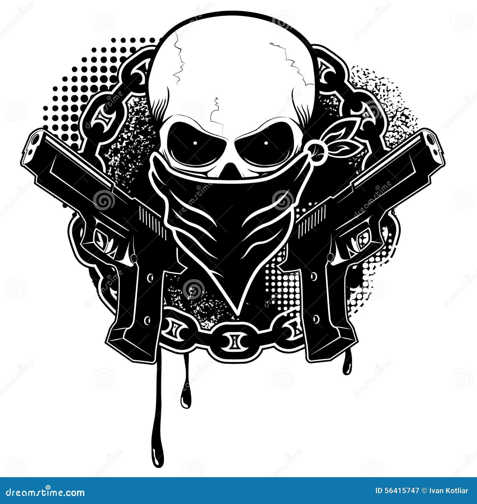 Cráneo y dos pistolas