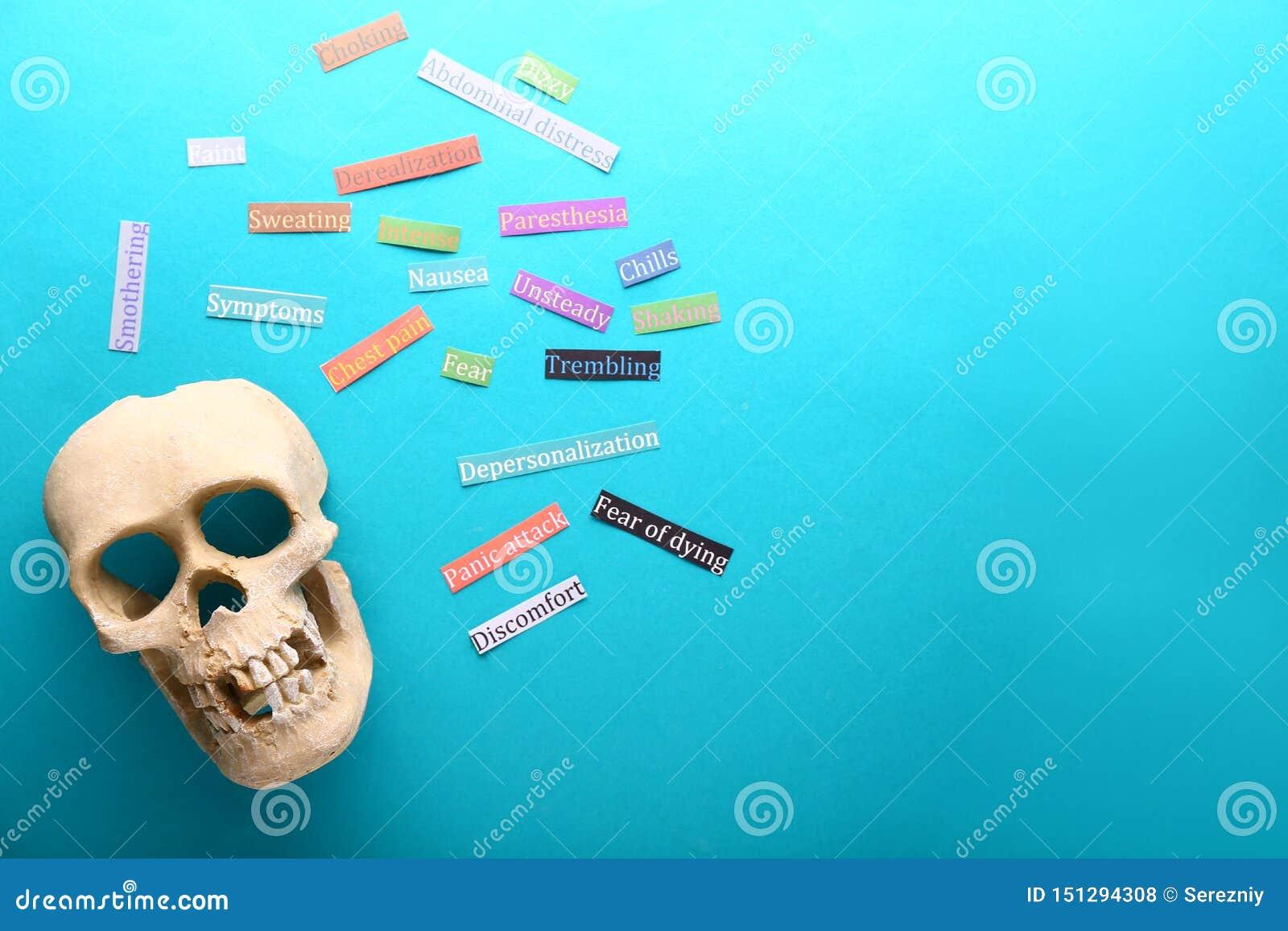 Cráneo y etiquetas engomadas con síntomas del ataque de pánico en el fondo del color, endecha plana