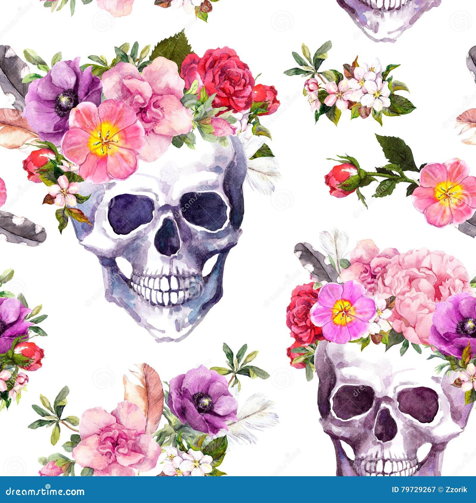 Cráneos humanos, flores Modelo inconsútil watercolor