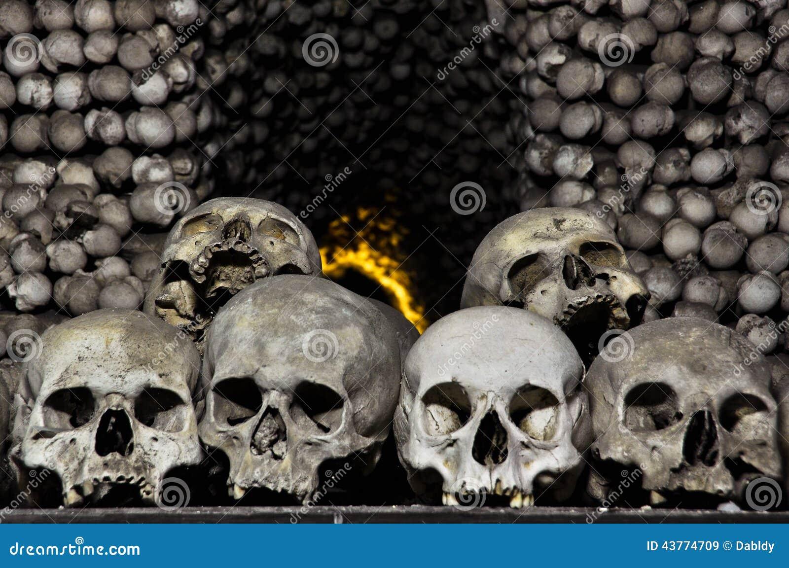 Cráneos y huesos humanos imagen de archivo. Imagen de genocidio ...