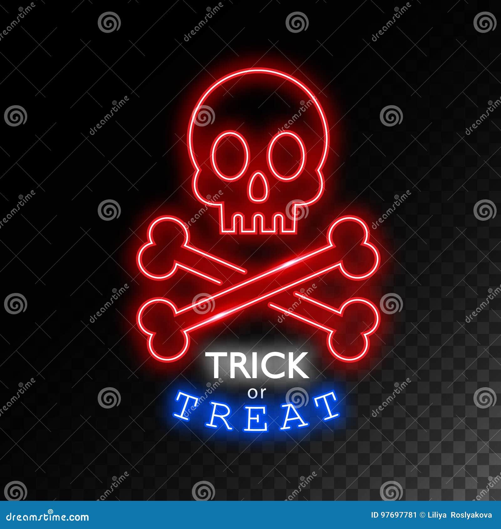 66766c7b627 Crâne avec l enseigne au néon d os Tour ou festin Enseigne lumineuse de  Halloween