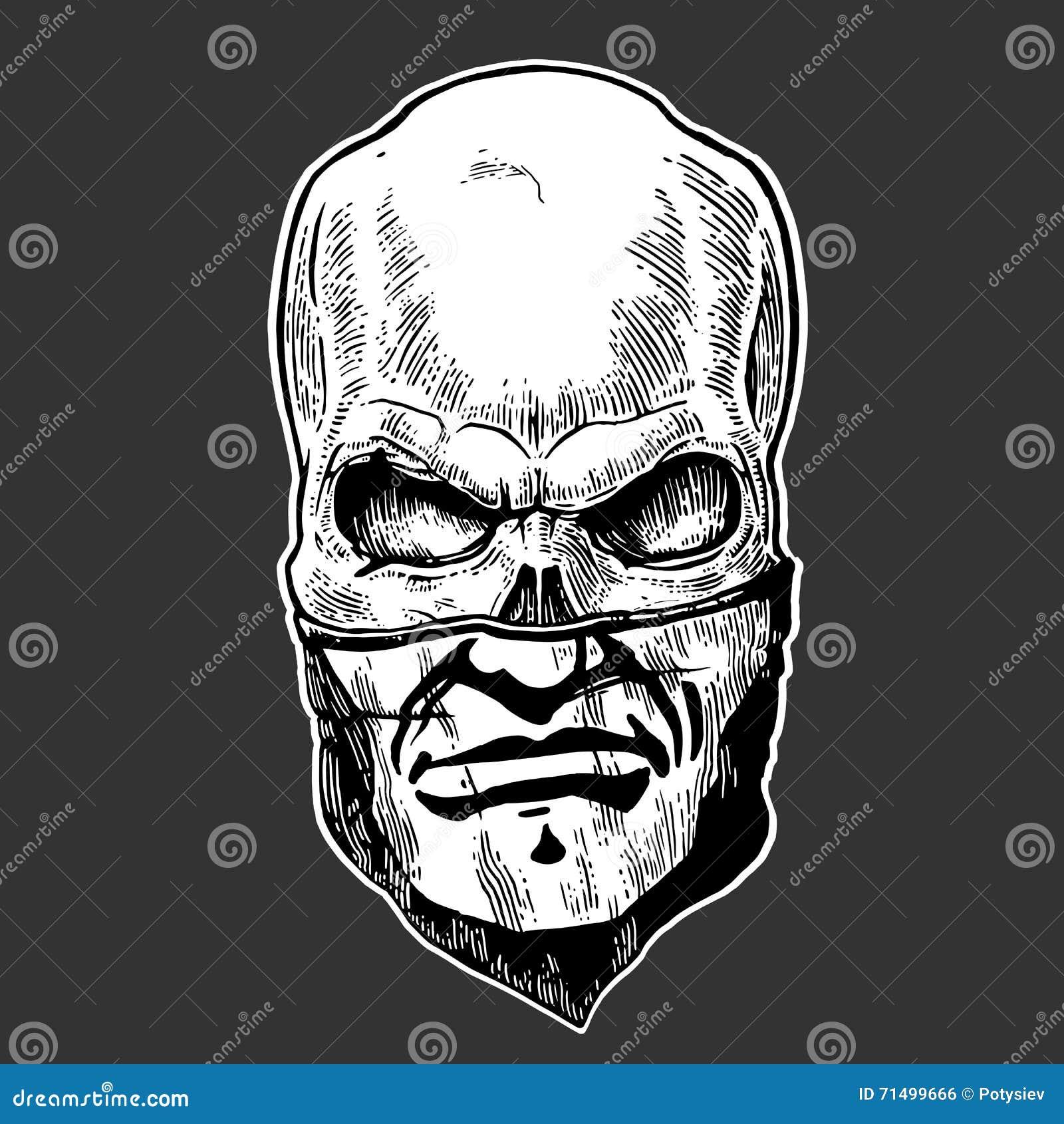 Crâne avec le bandana avec un modèle humain Illustration noire de vecteur de vintage Pour le club d affiche et de cycliste de tat