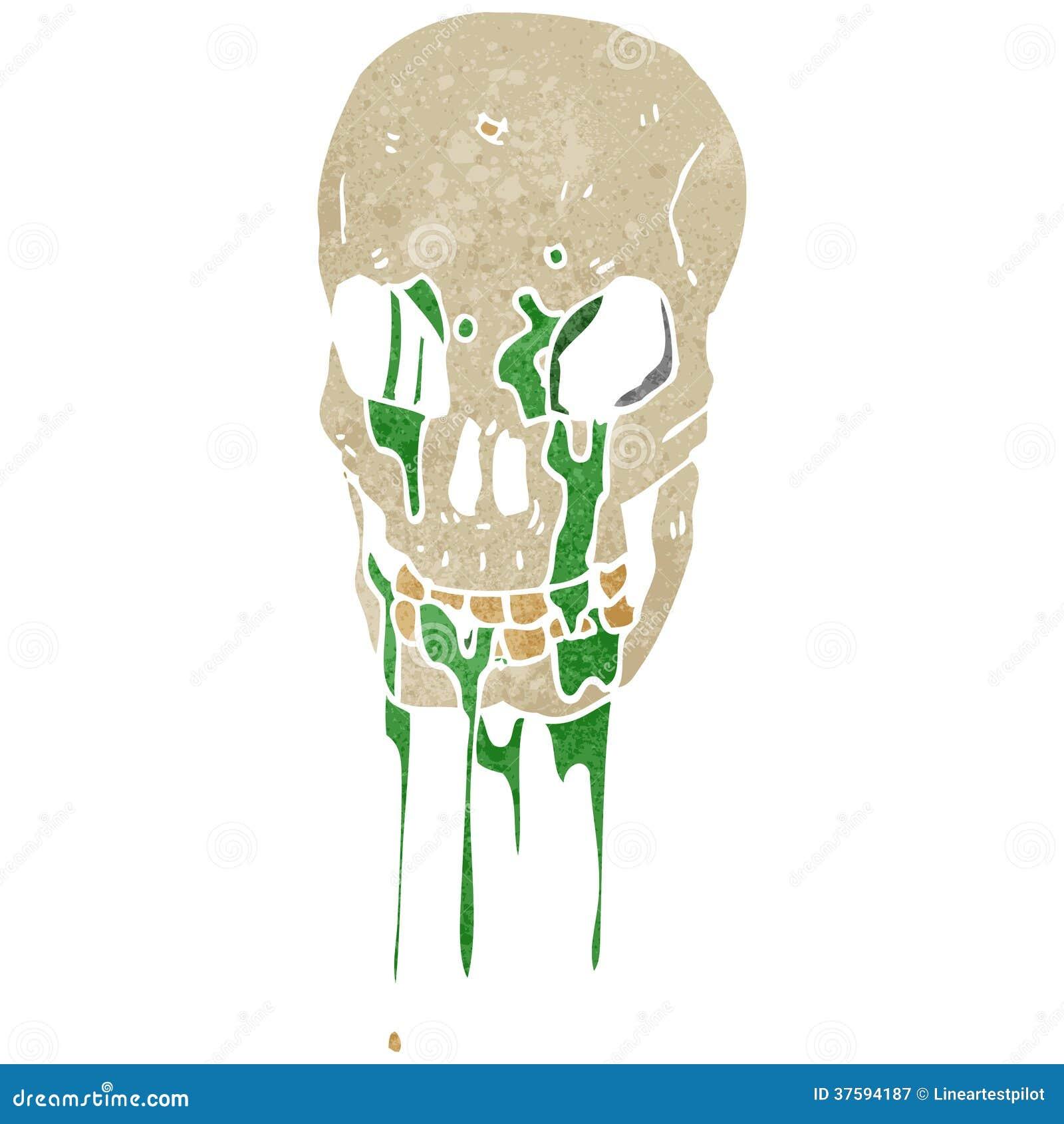 Crâne brut d égoutture de boue de rétro bande dessinée