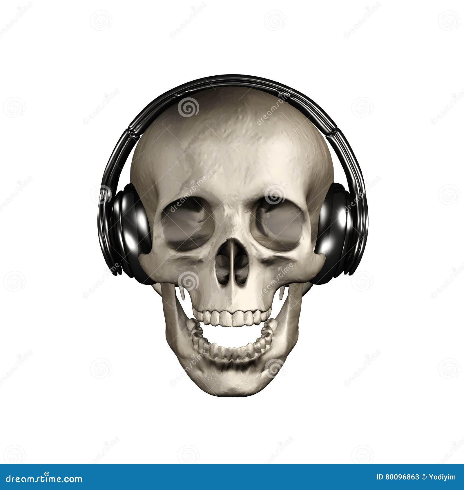 Crâne D'abrégé Sur L'illustration 3D Avec L'écouteur