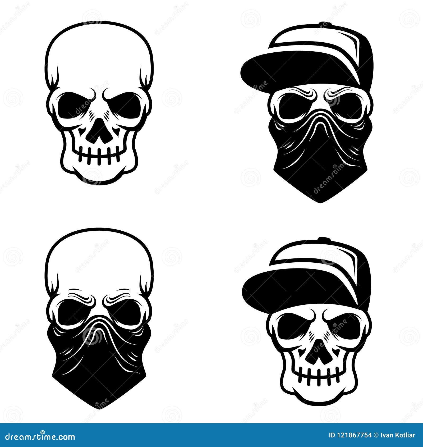 Crâne de bandit avec la casquette de baseball et le bandana Concevez l élément pour le logo, label, emblème, signe, T-shirt