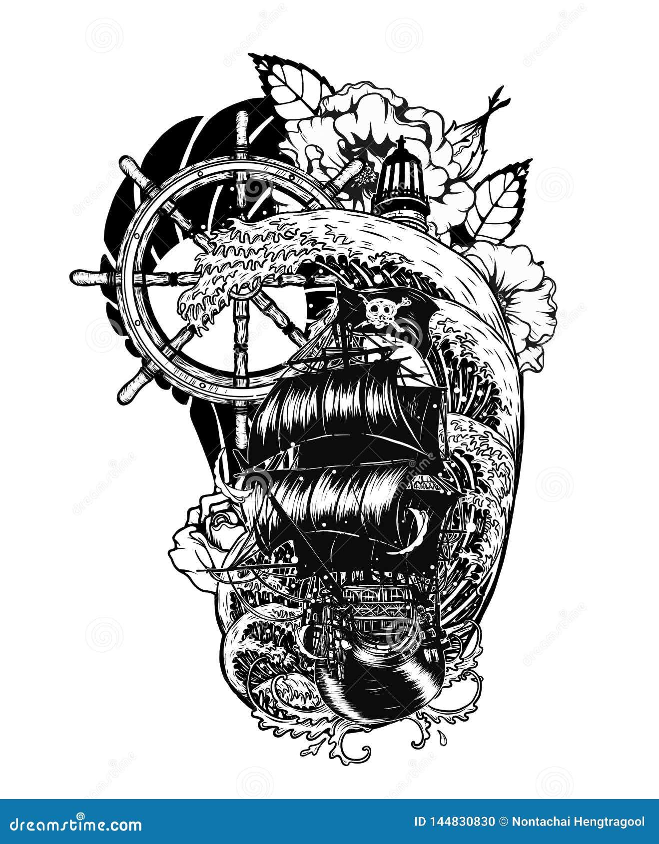 Cr Ne De Pirate Avec Le Tatouage De Vecteur De Bateau Dessinant La Main Illustration De Vecteur Illustration Du Tatouage Pirate 144830830