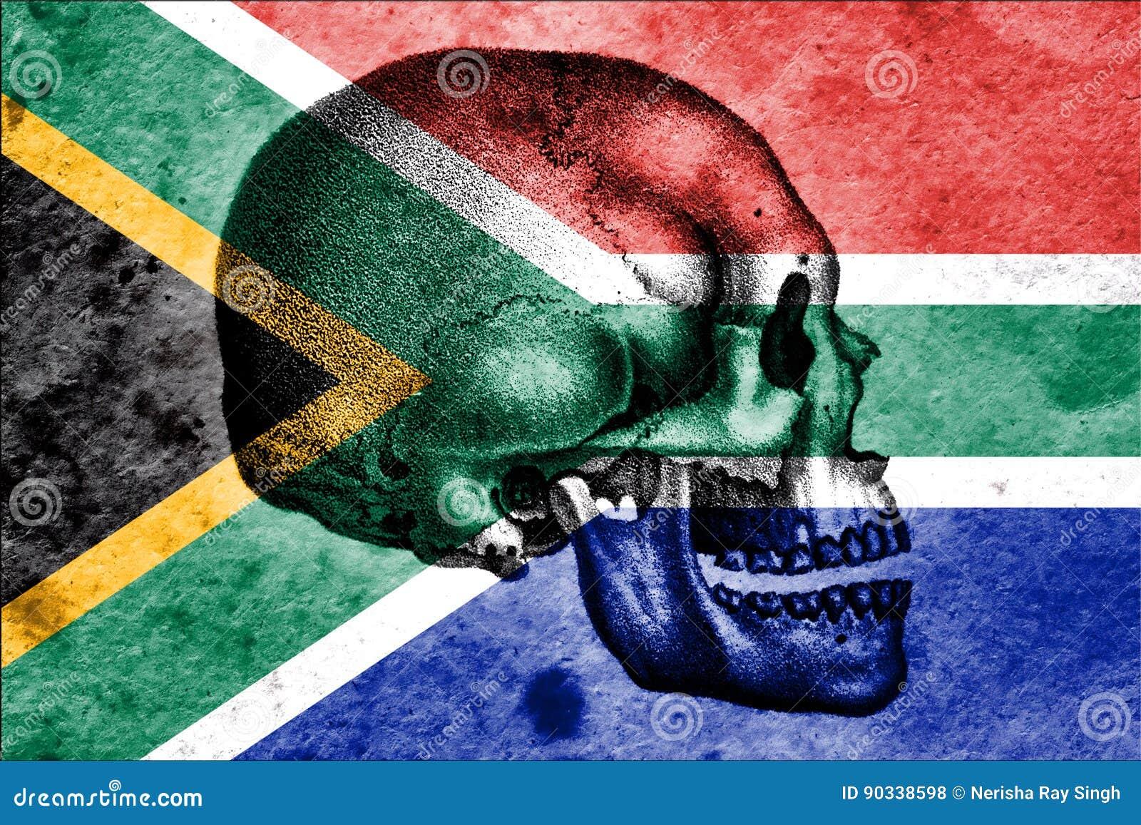 Crâne et drapeau sud-africain signifiant le berceau de l humanité