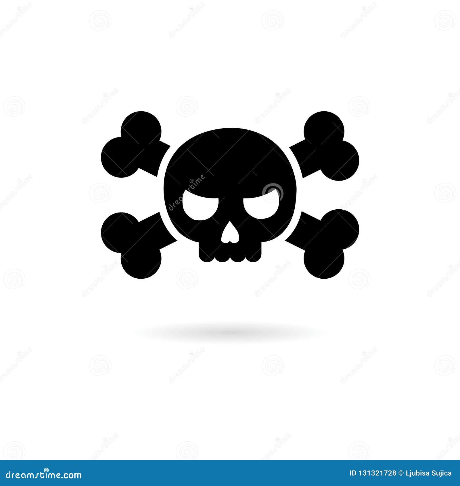 Crâne et icône ou logo noire d os