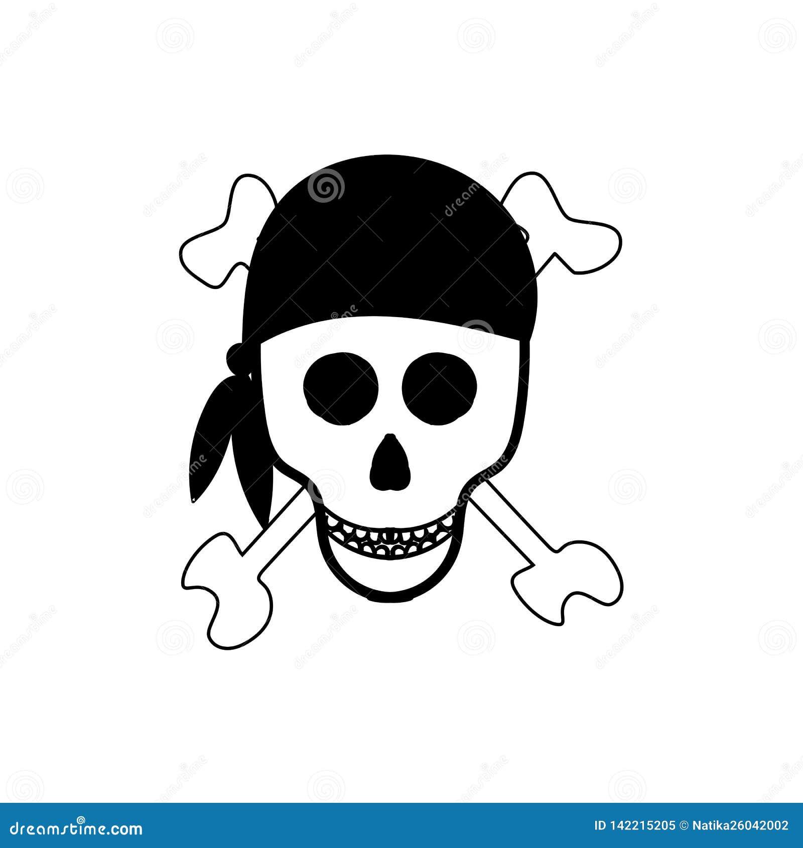Crâne et os Signe de pirate Illustration de vecteur