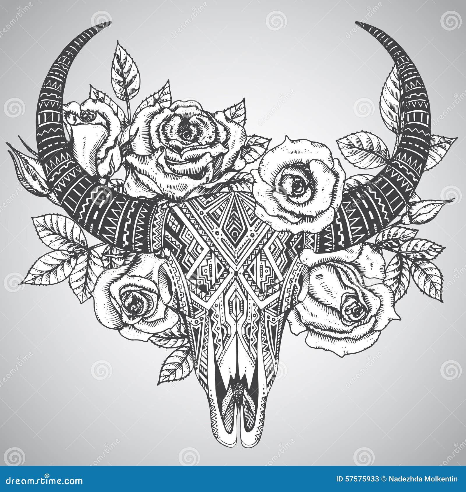 Cr ne indien d coratif de taureau dans le style tribal de - Style de dessin ...