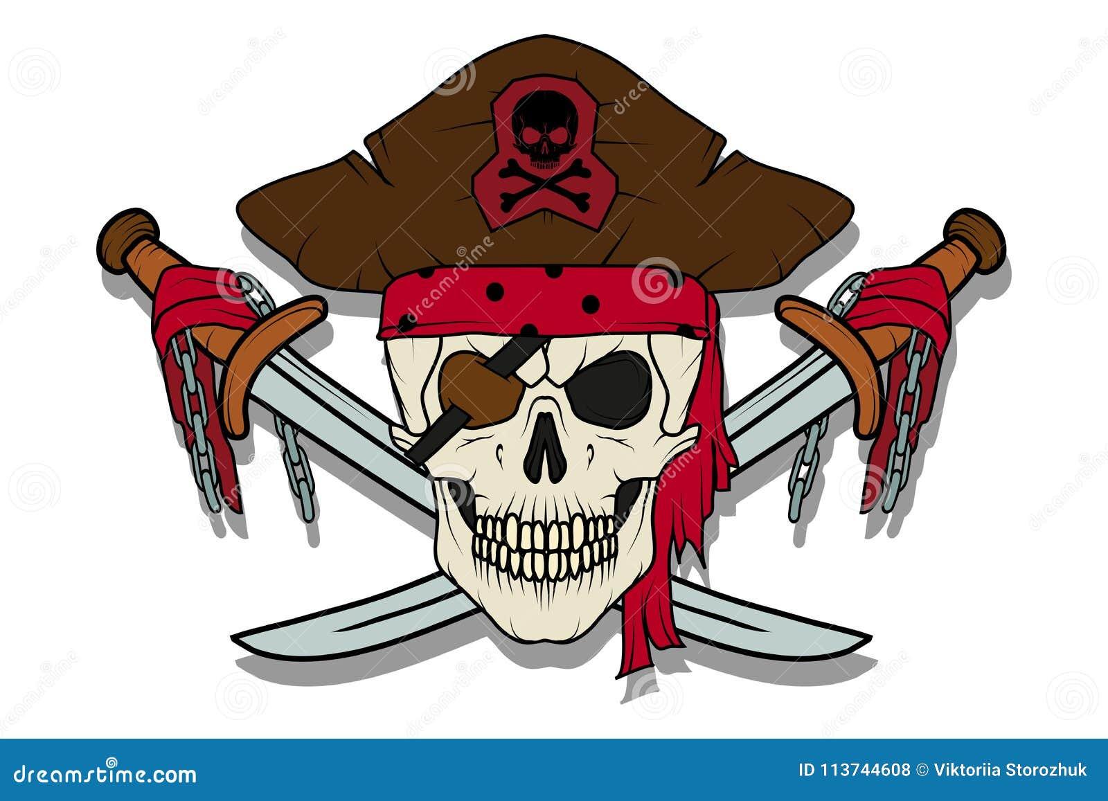 Crâne mauvais de pirate Roger gai