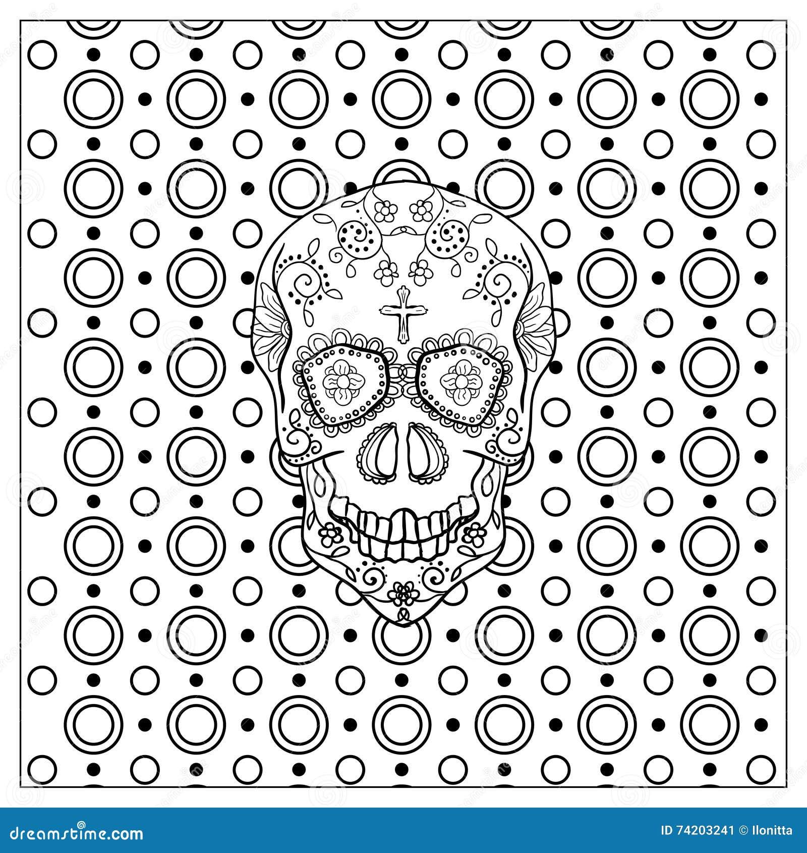 Crâne Mexicain Mort De Jour Illustration De Vecteur