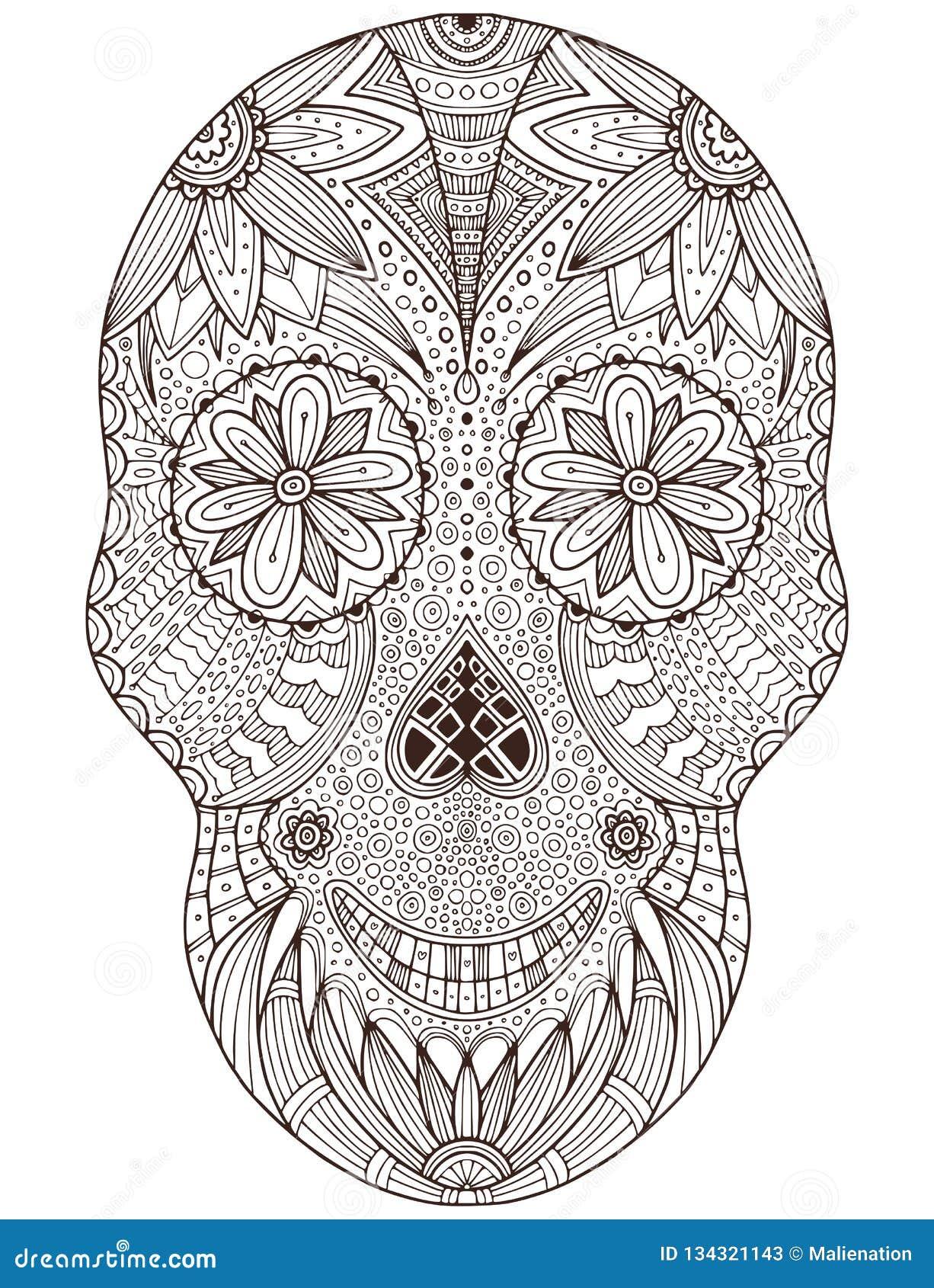 Crâne Mexicain Tiré Par La Main De Sucre Avec Le Modèle De
