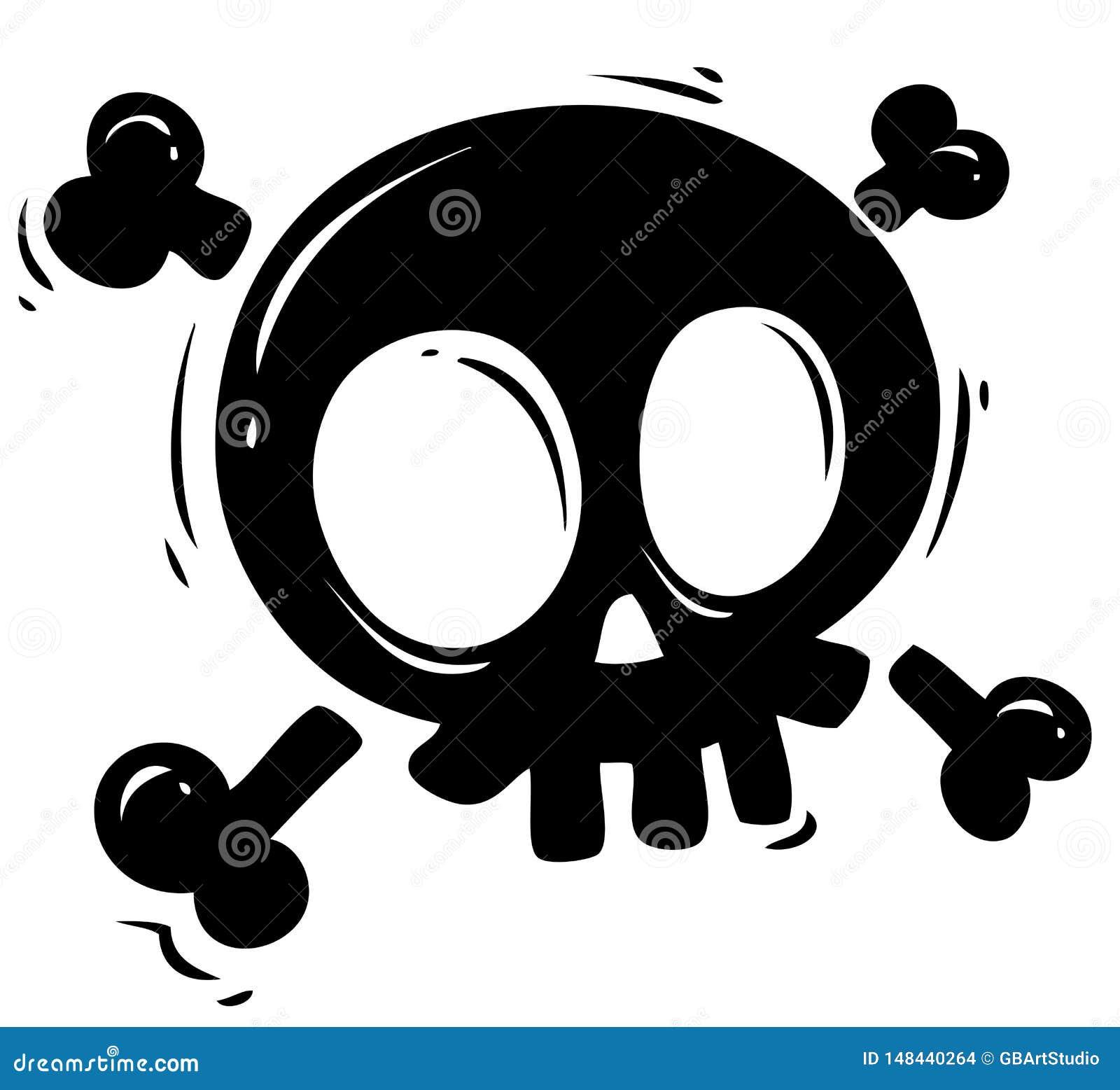 Crâne noir de silhouette avec les os croisés