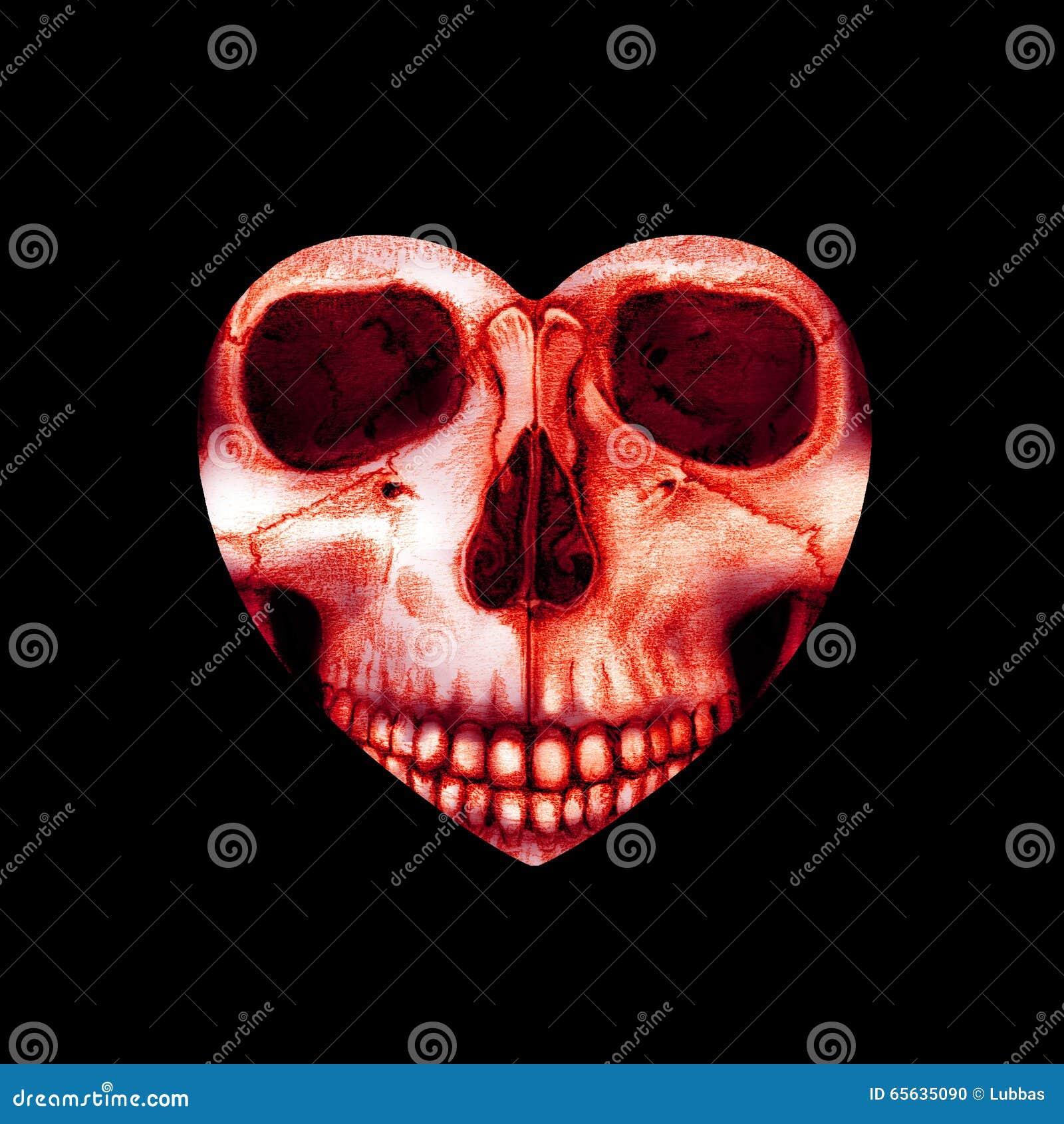 Crâne rouge effrayant de Valentine au coeur