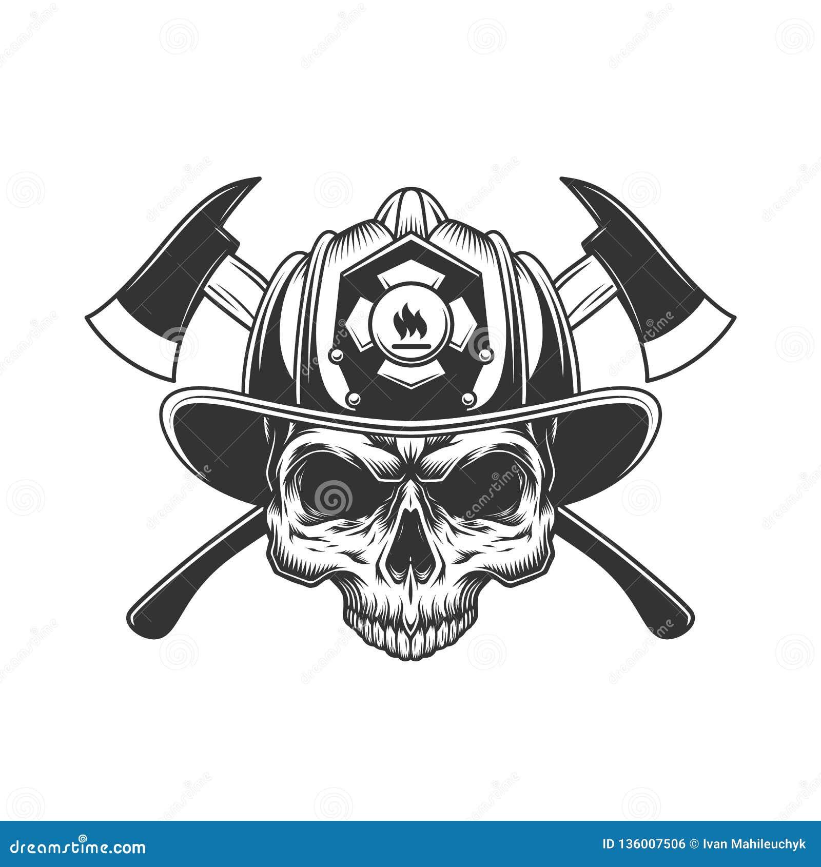 Crâne sans mâchoire dans le casque de pompier