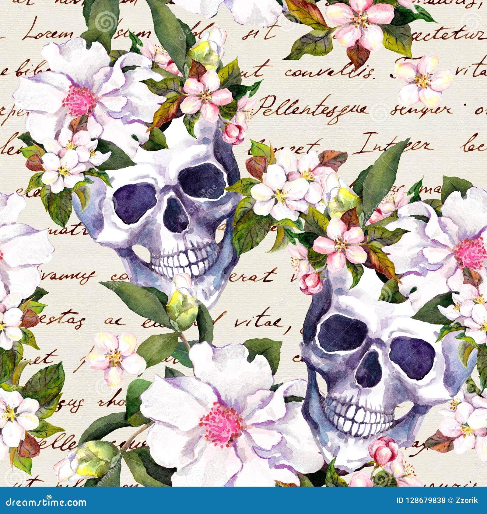 Crânes humains, fleurs pour des vacances de Dia de Muertos Modèle sans couture avec le texte écrit de main watercolor