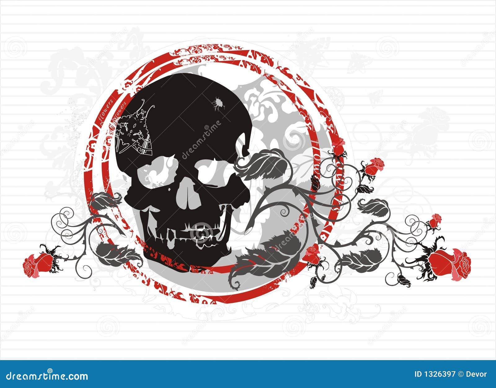 Crânio com rosas