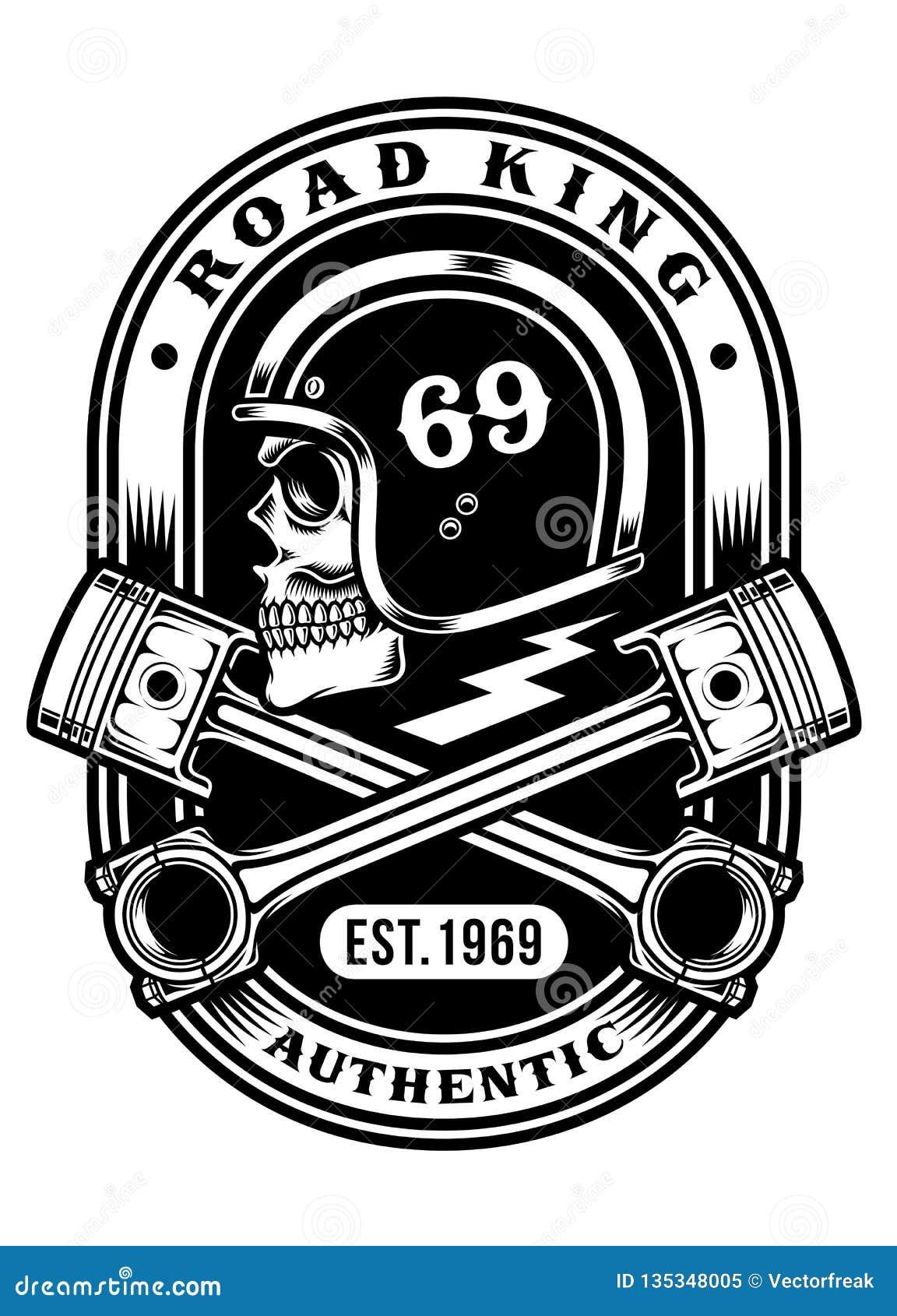 Crânio do motociclista com projeto gráfico cruzado do t-shirt dos pistões