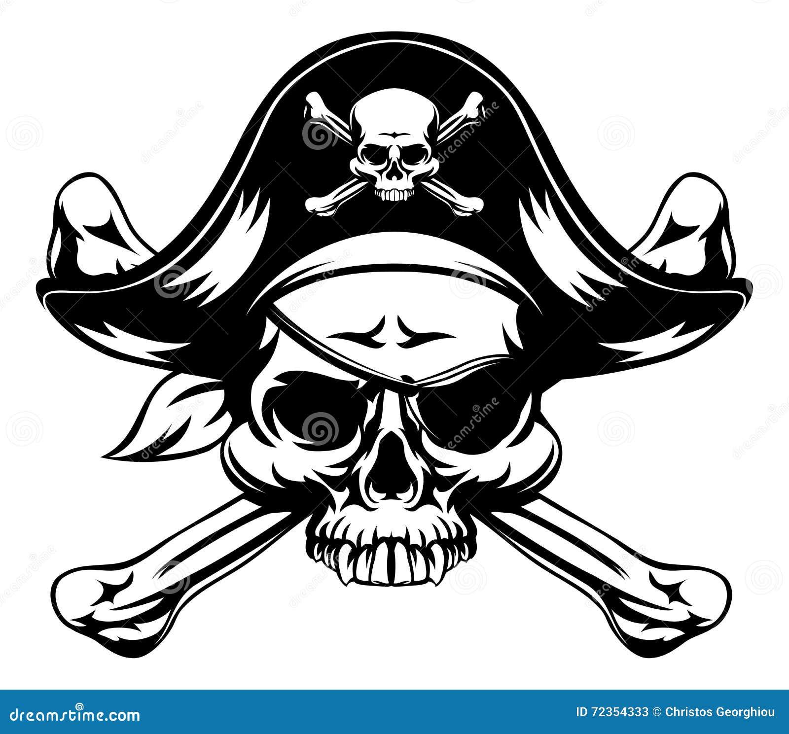 Crânio do pirata e ossos cruzados