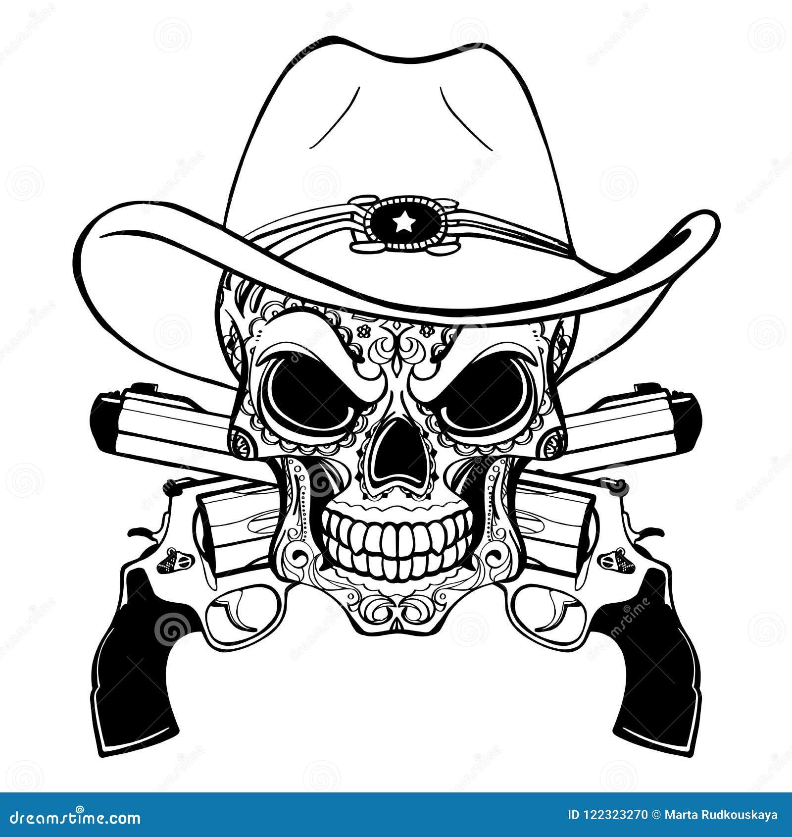 Crânio do vaqueiro em um chapéu ocidental e um par de armas cruzadas