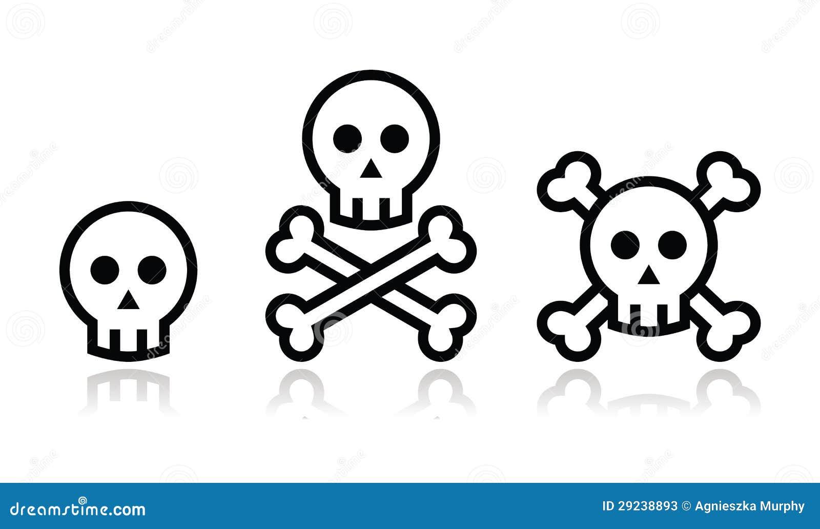 Download Crânio Dos Desenhos Animados Com Grupo Do ícone Dos Ossos Ilustração Stock - Ilustração de sepultura, crossbones: 29238893