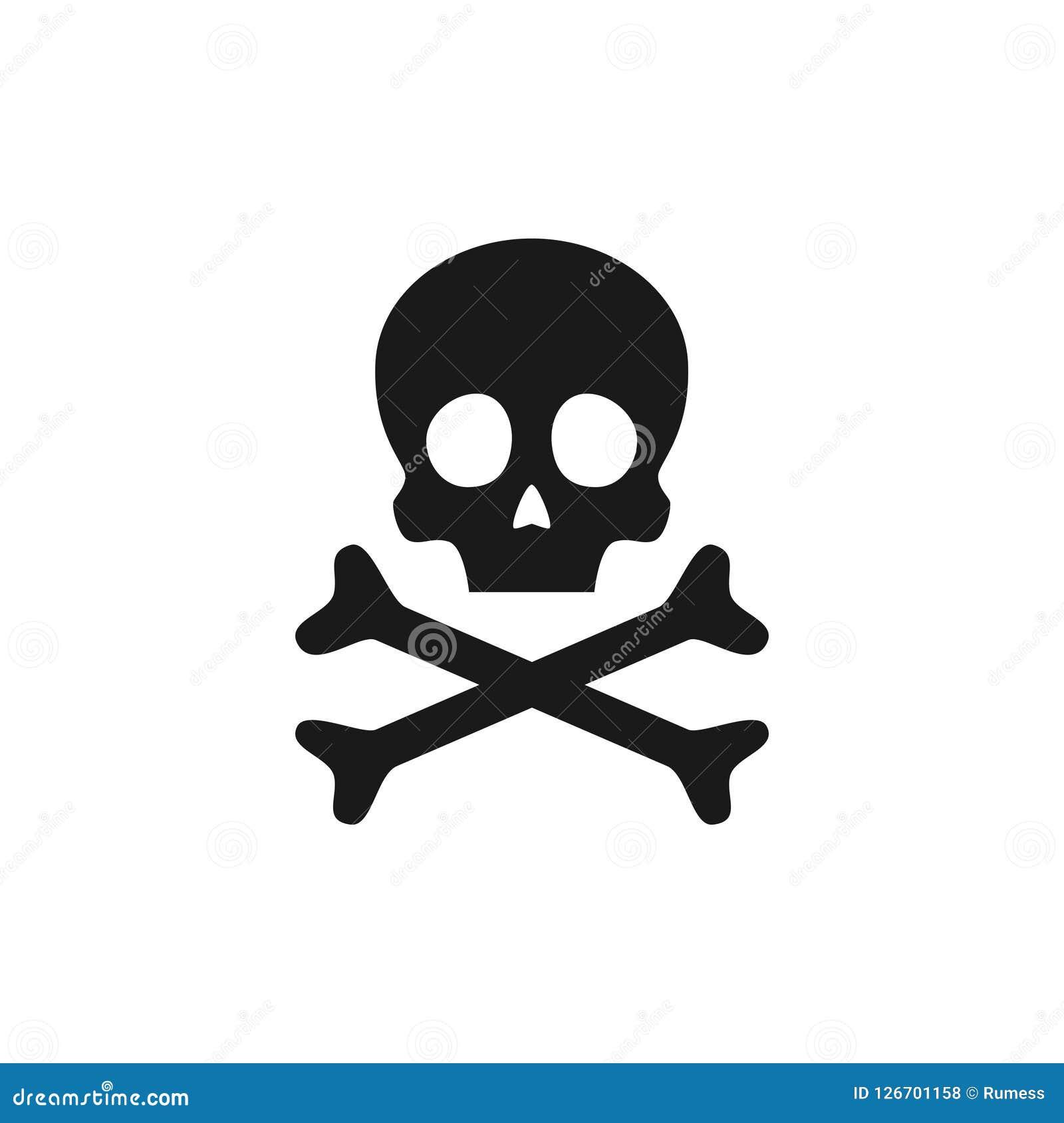 Crânio e ícone dos crossbones Sinal de aviso do veneno Ilustração do vetor