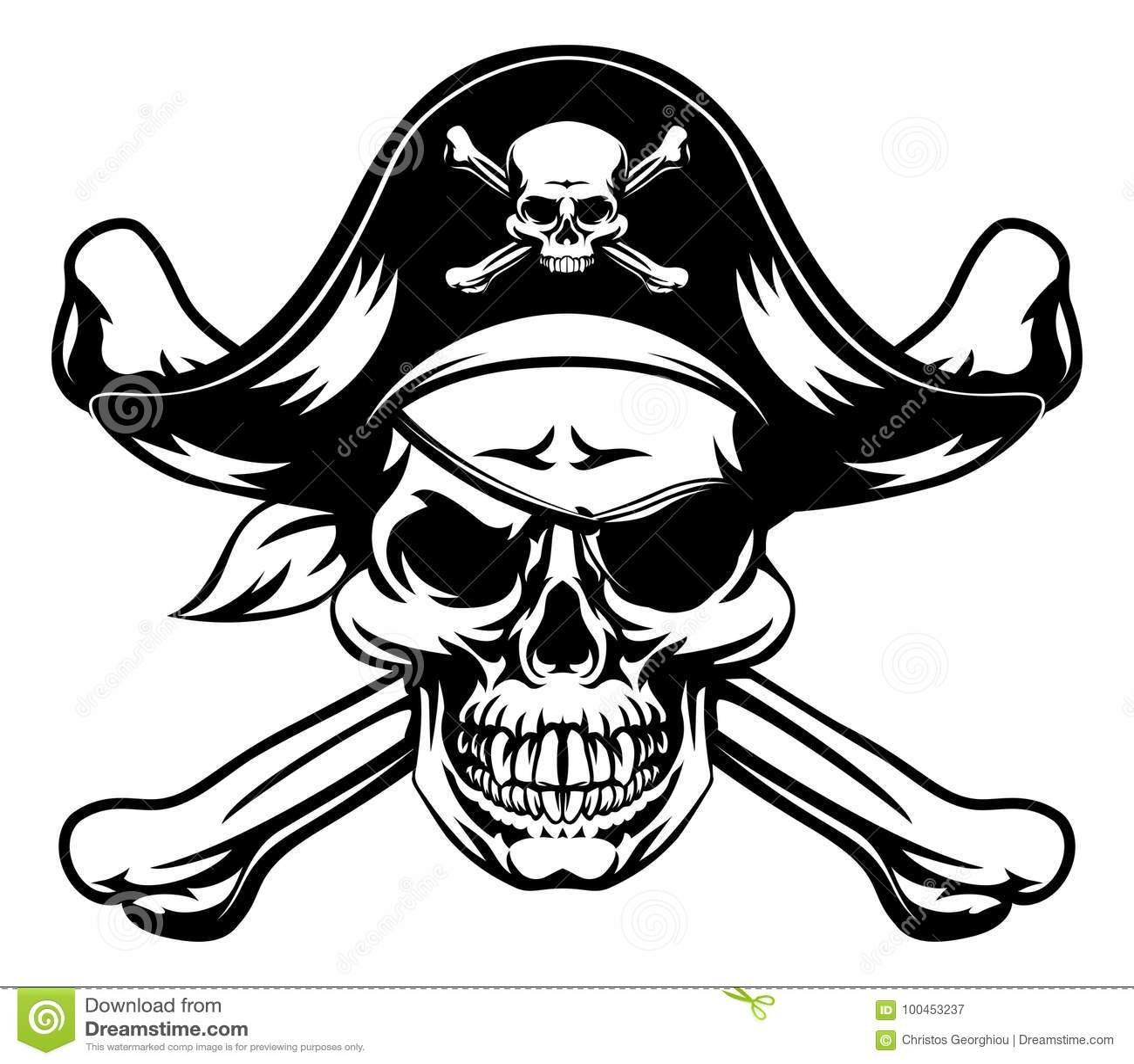 Crânio e crossbones do pirata