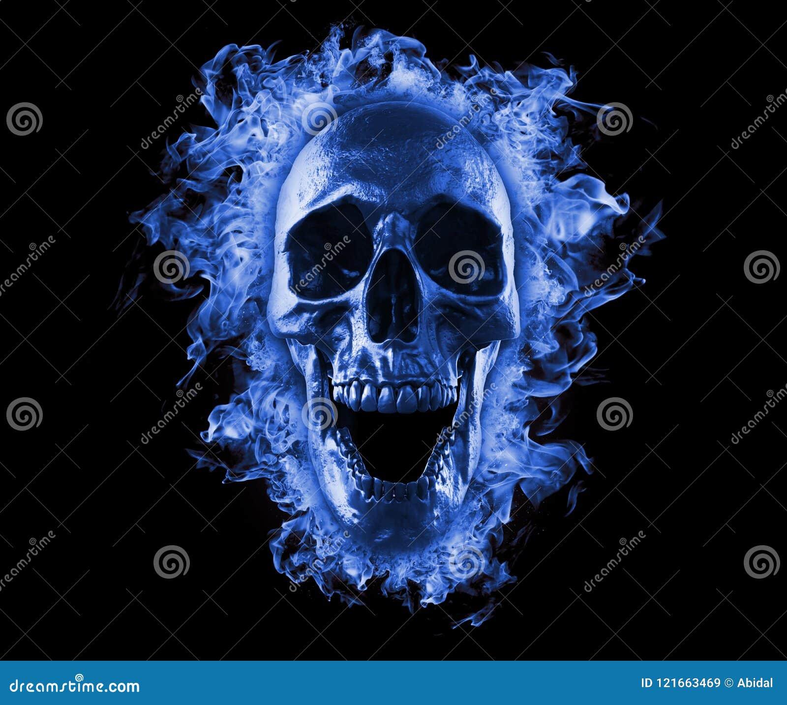 Crânio flamejante no fogo azul