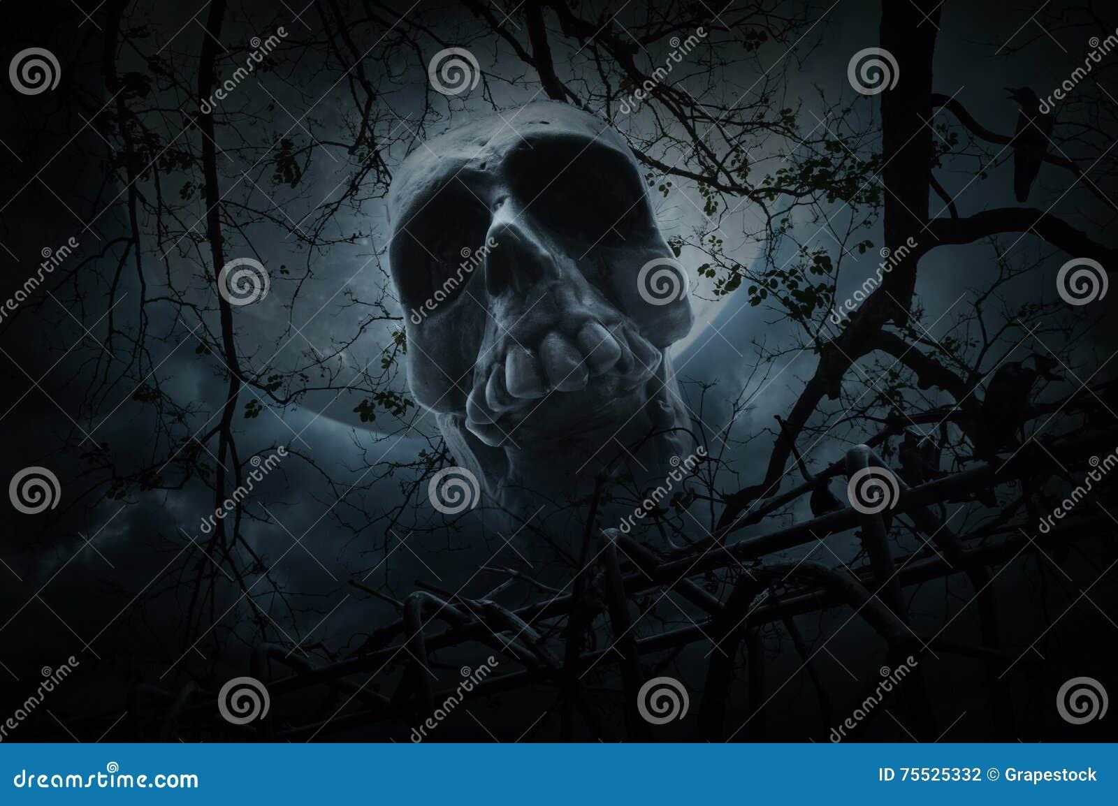 Crânio humano com a cerca velha sobre a árvore, o corvo, a lua e nebuloso inoperantes