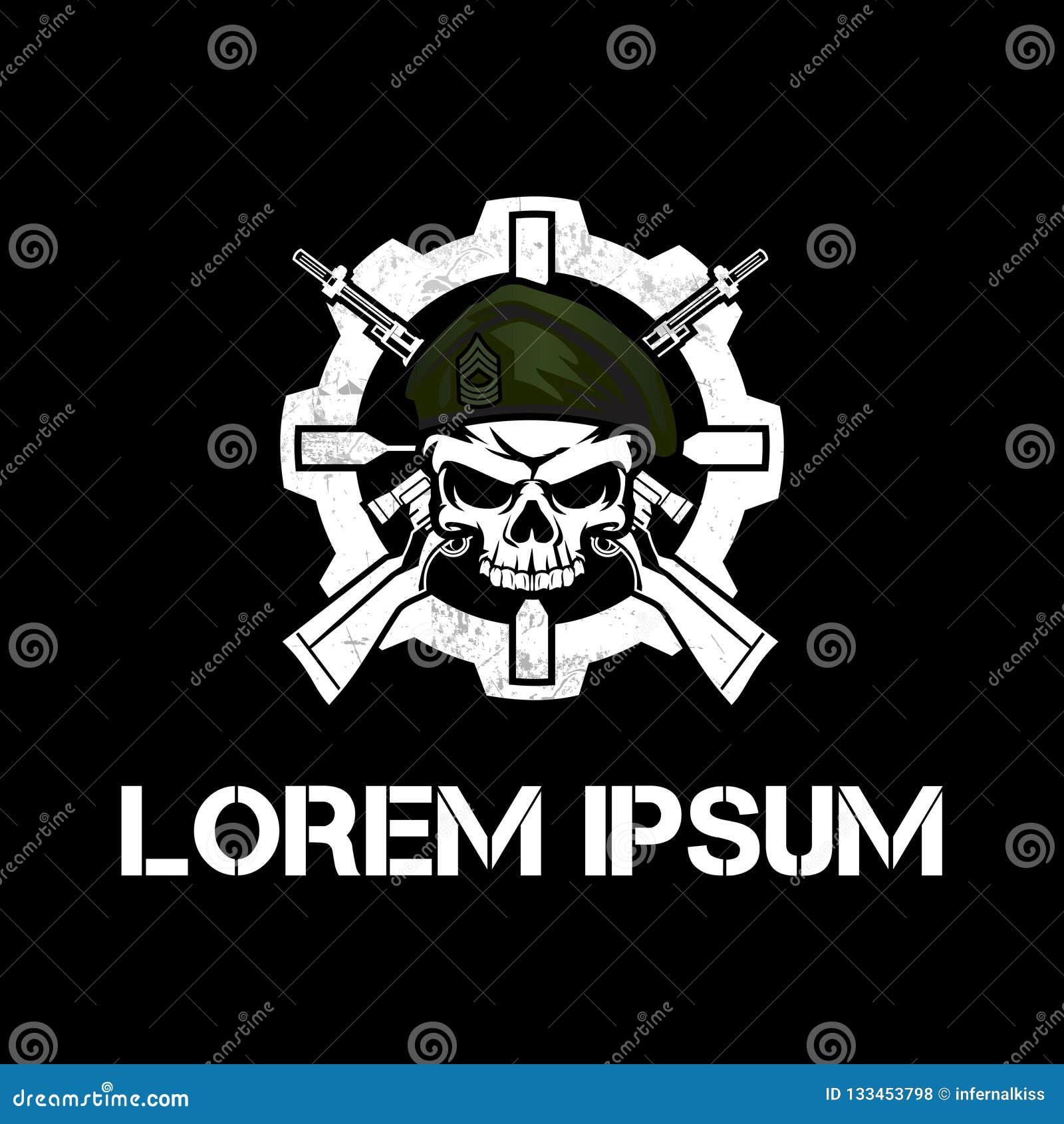 Crânio militar de surpresa com molde do logotipo do vetor do rifle e da engrenagem