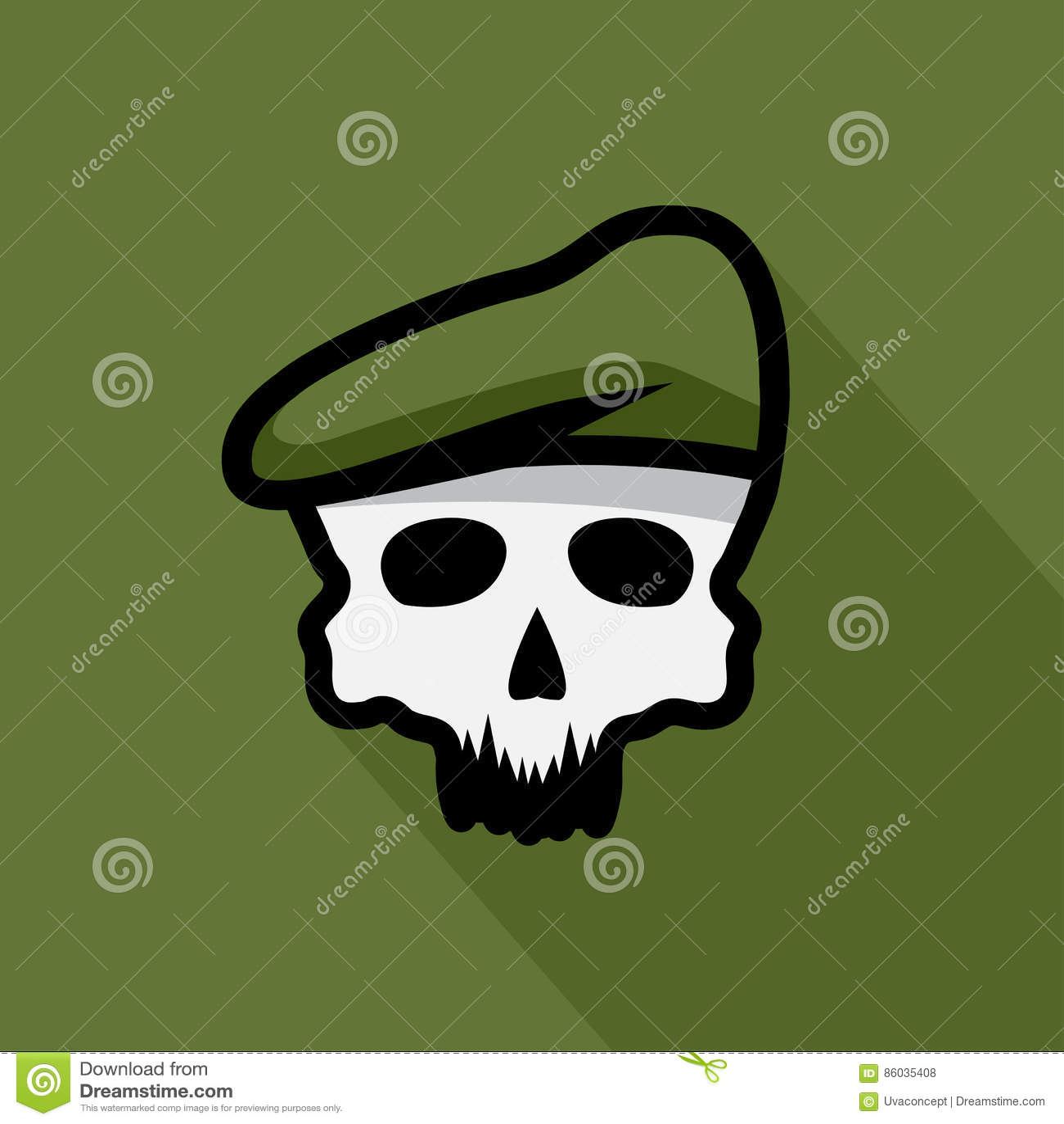 Crânio No Projeto Militar Do Vetor Da Boina Ilustração do Vetor ... 67a91e6101f