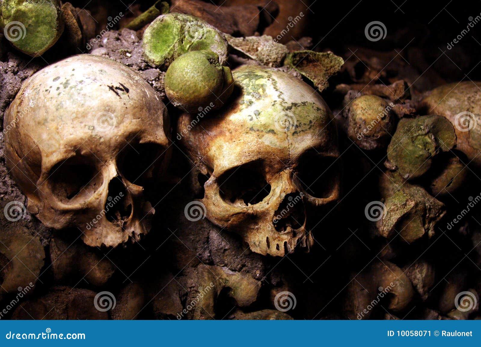 Crânios em um Catacomb francês