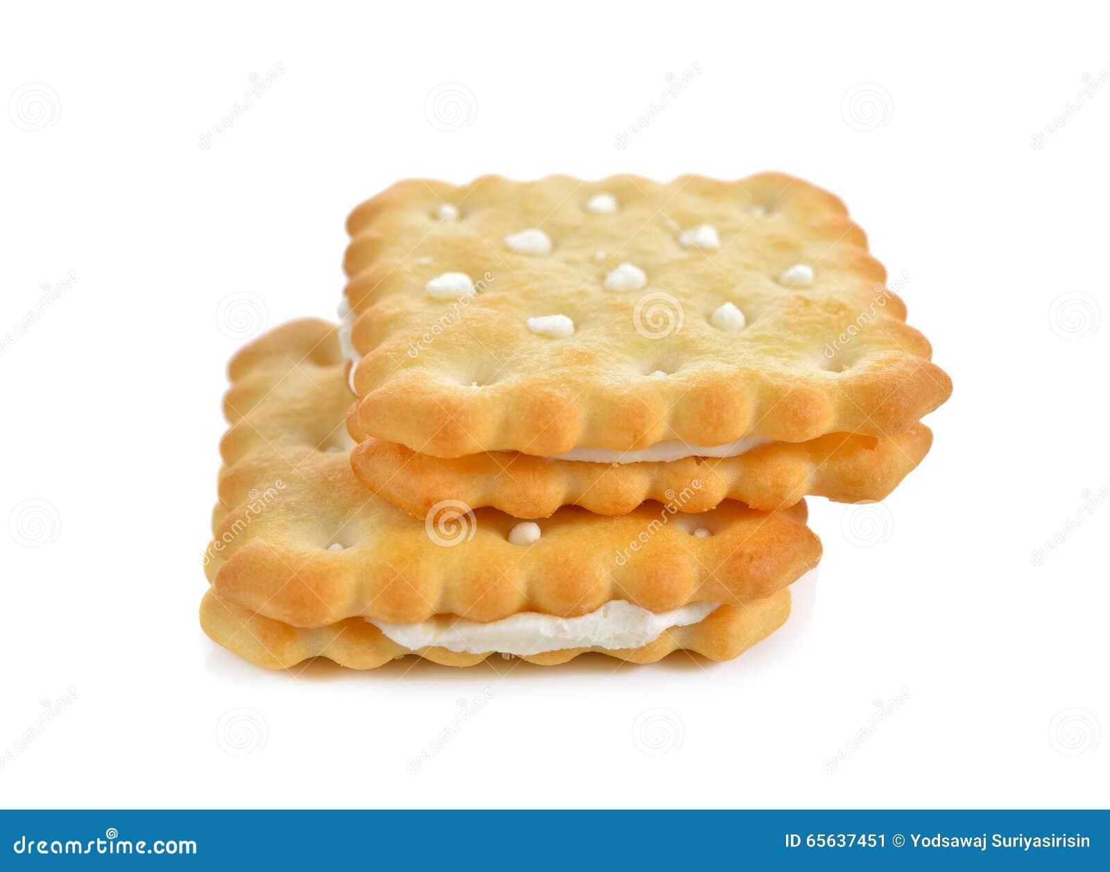 Crème assaisonnée par citron de sandwich à souffle sur le blanc