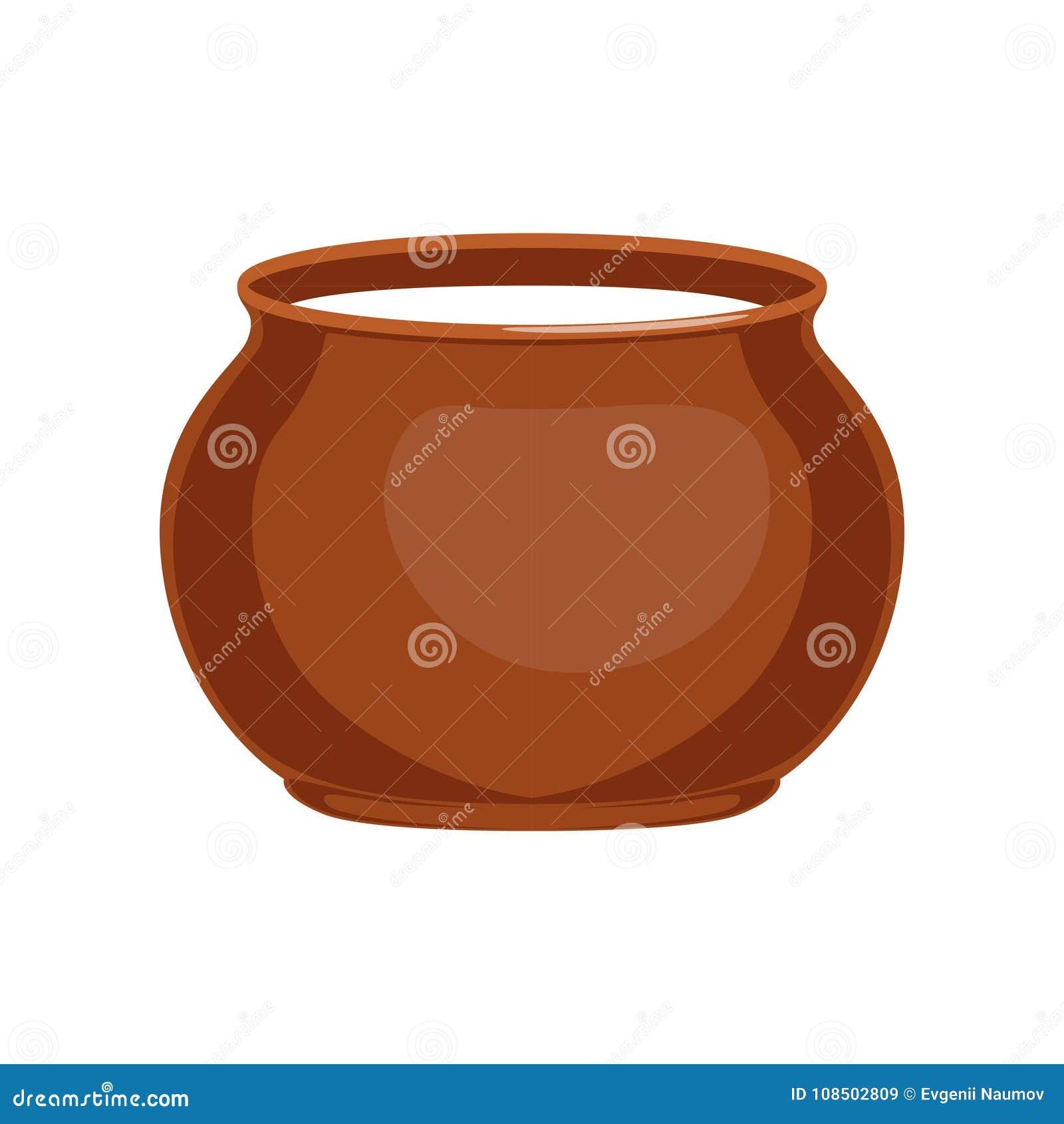 Crème sure dans l illustration de pot d argile, fraîche et saine de laitages de vecteur