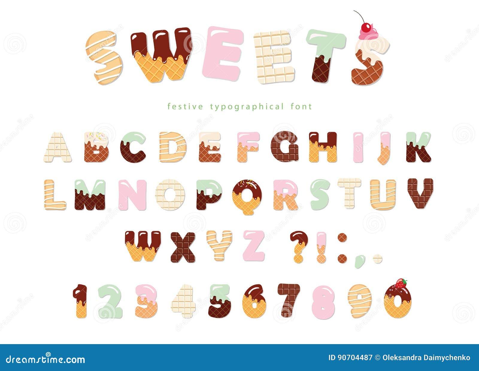 Création de fonte de boulangerie de bonbons Lettres drôles et nombres d alphabet latin faits de crème glacée, chocolat, biscuits,