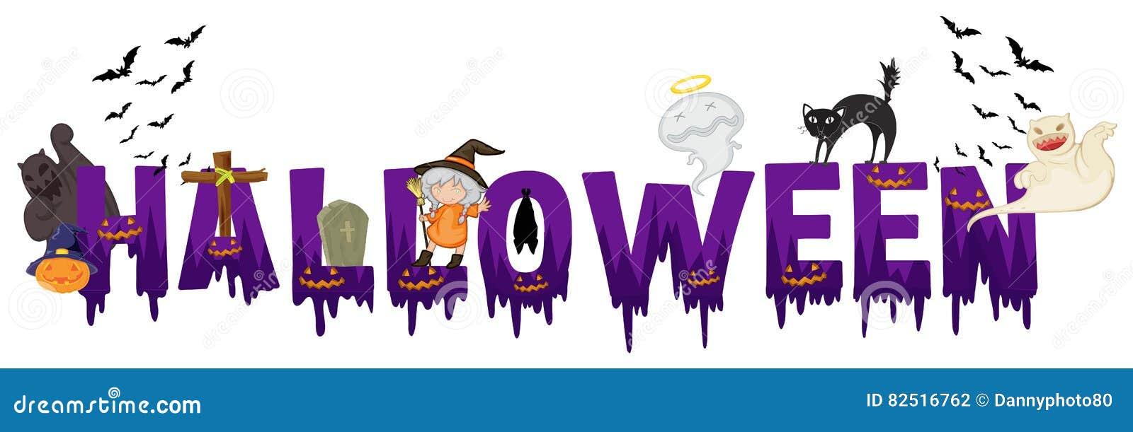 Stocks Download Shivam Creation: Création De Fonte Pour Le Mot Halloween Illustration De