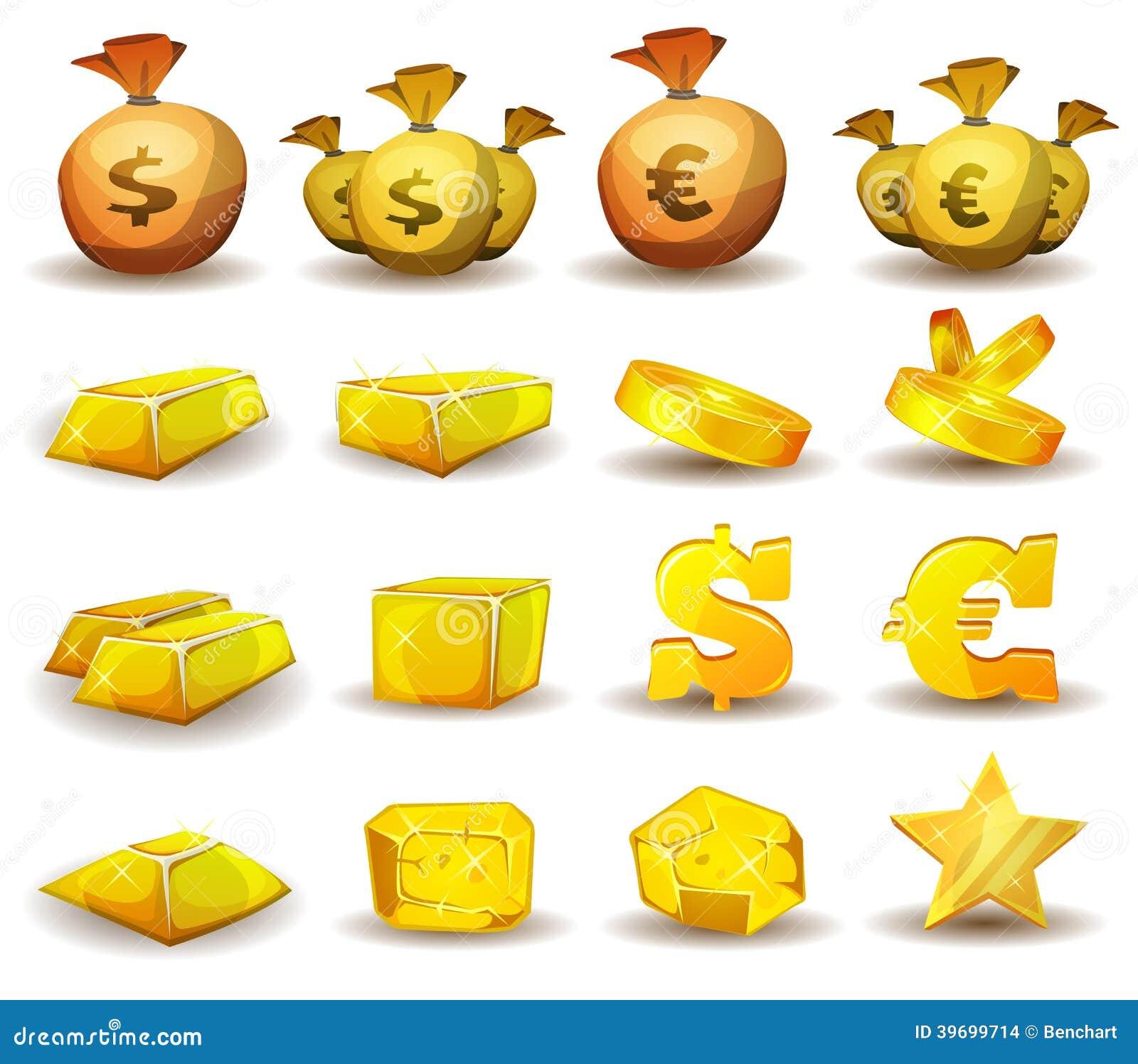 Crédito del oro, dinero, monedas fijadas para el interfaz del juego