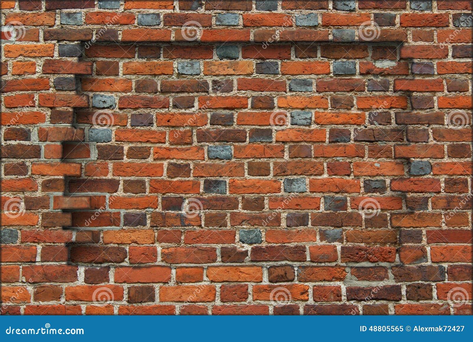 cr neau dans le mur fait partir de la brique rouge photo stock image 48805565. Black Bedroom Furniture Sets. Home Design Ideas