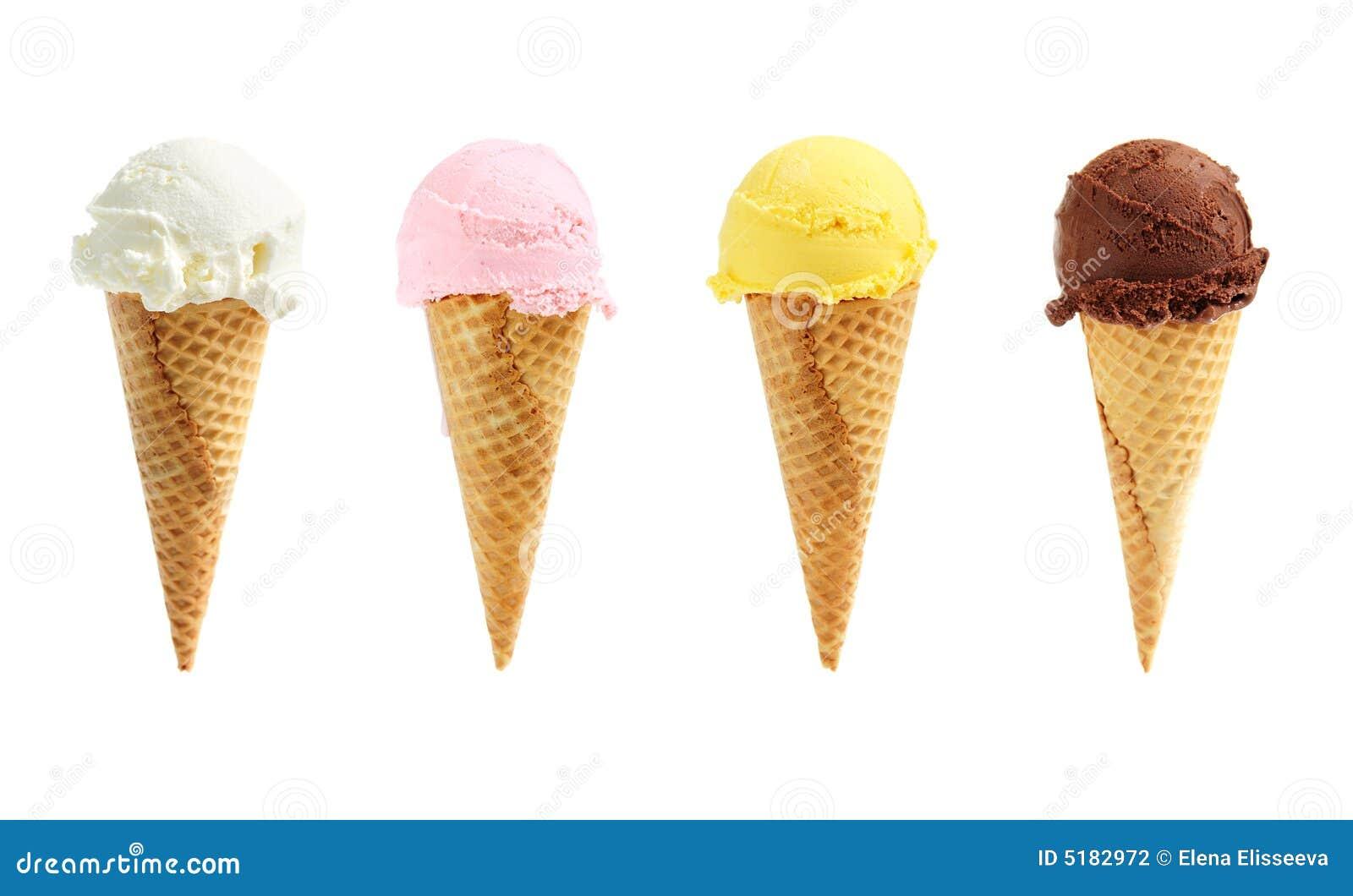 Crême glacée assortie dans des cônes de sucre