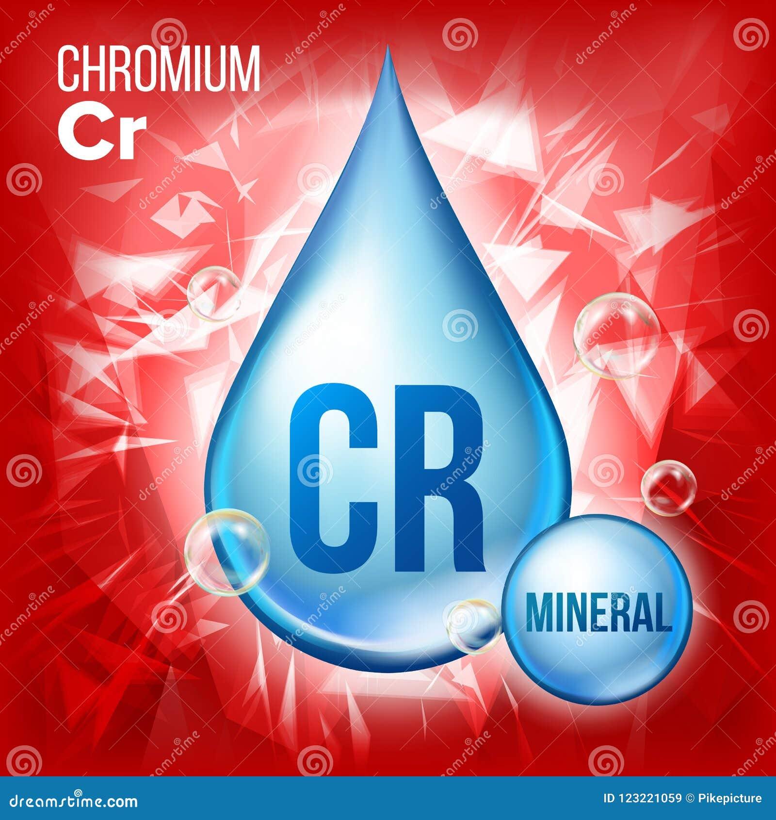 Cr-Chrom-Vektor Blaue Tropfen-Mineralikone Vitamin-flüssige Tröpfchen-Ikone Substanz für Schönheit, Kosmetik, Heath Promo Ads