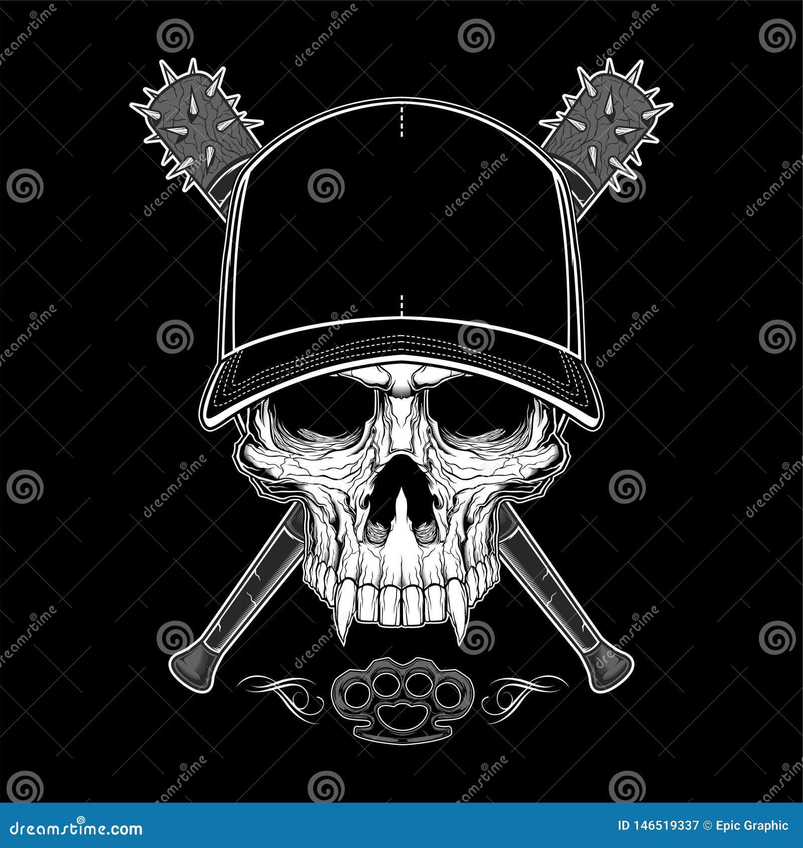 Cr?ne de bandit de cru dans le chapeau de hippie et des mains squelettiques tenant l illustration crois?e de vecteur d isolement
