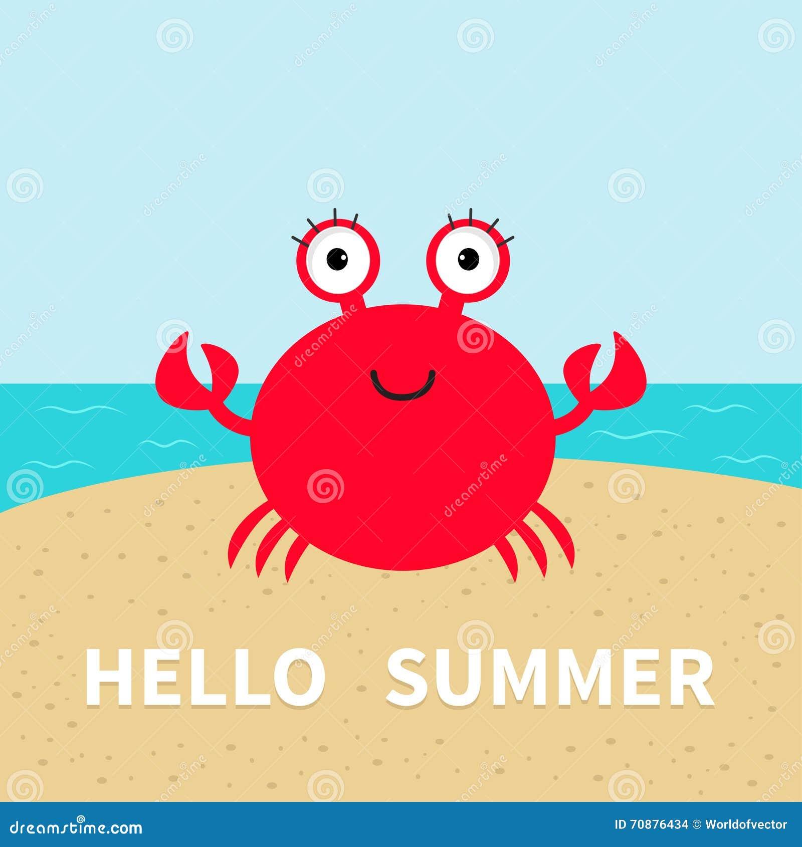 Crab On The Beach. Sea Ocean, Sky, Sand. Cute Cartoon Baby Character. Stock V...