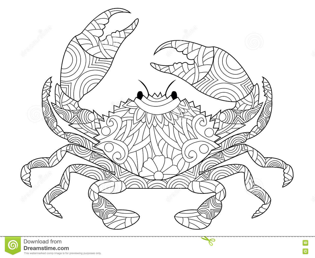 Crab Coloring Book Vector For Adults Stock Vector ...