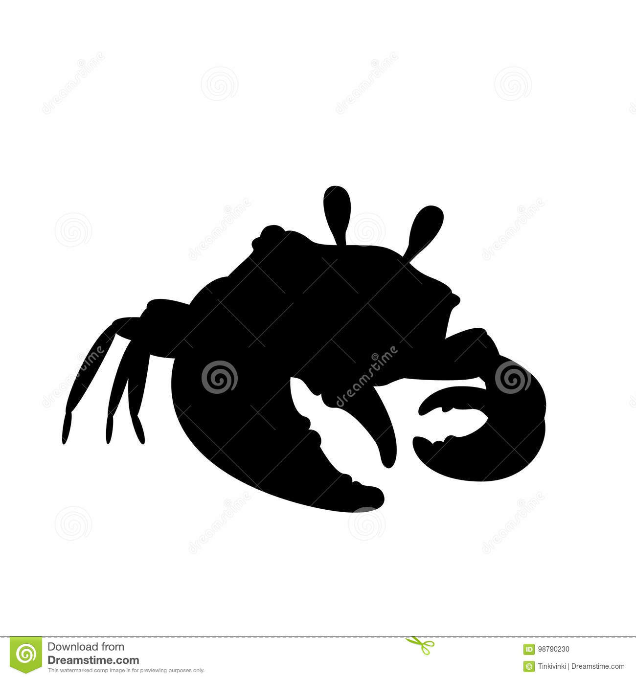 Black Crab Pose Meme: Crab In Cool Pose Silhouette. Vector. Stock Vector
