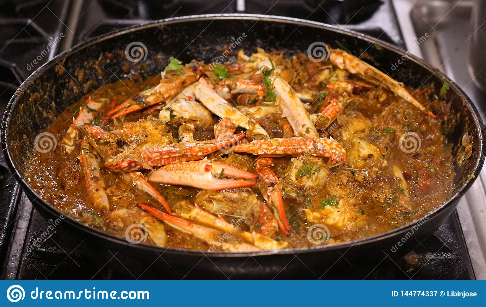 Crab curry in a pan