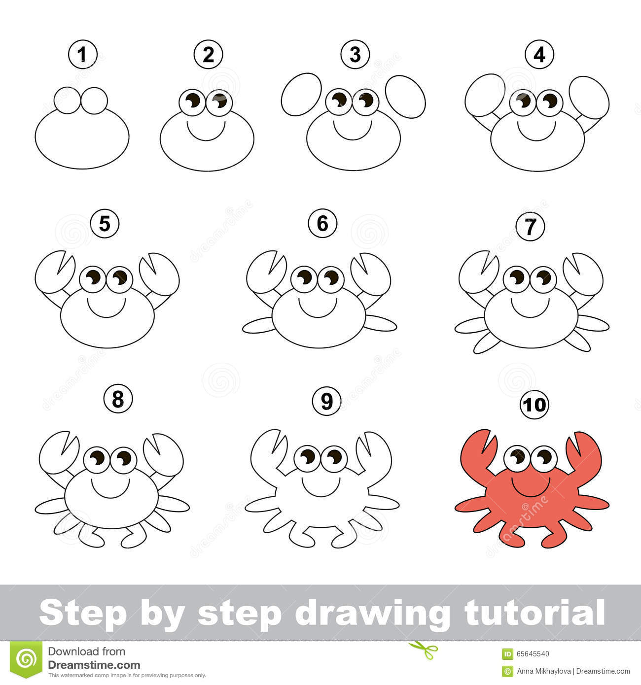 Crab. Drawing tutorial. stock vector. Illustration of ... - photo#14