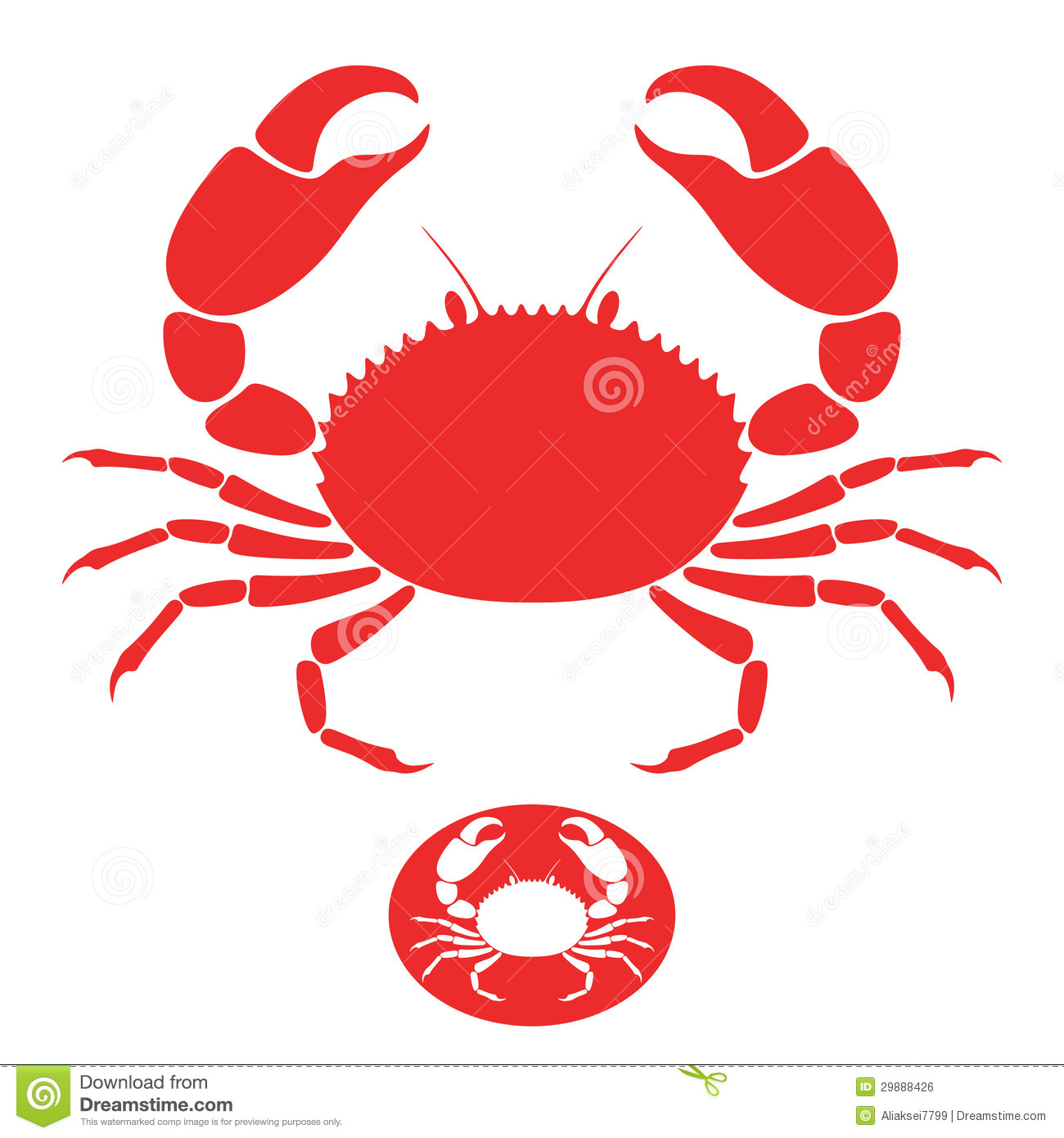 Crab. Sign. Vector illustration (EPS 10) + alternate file (CDR 10).